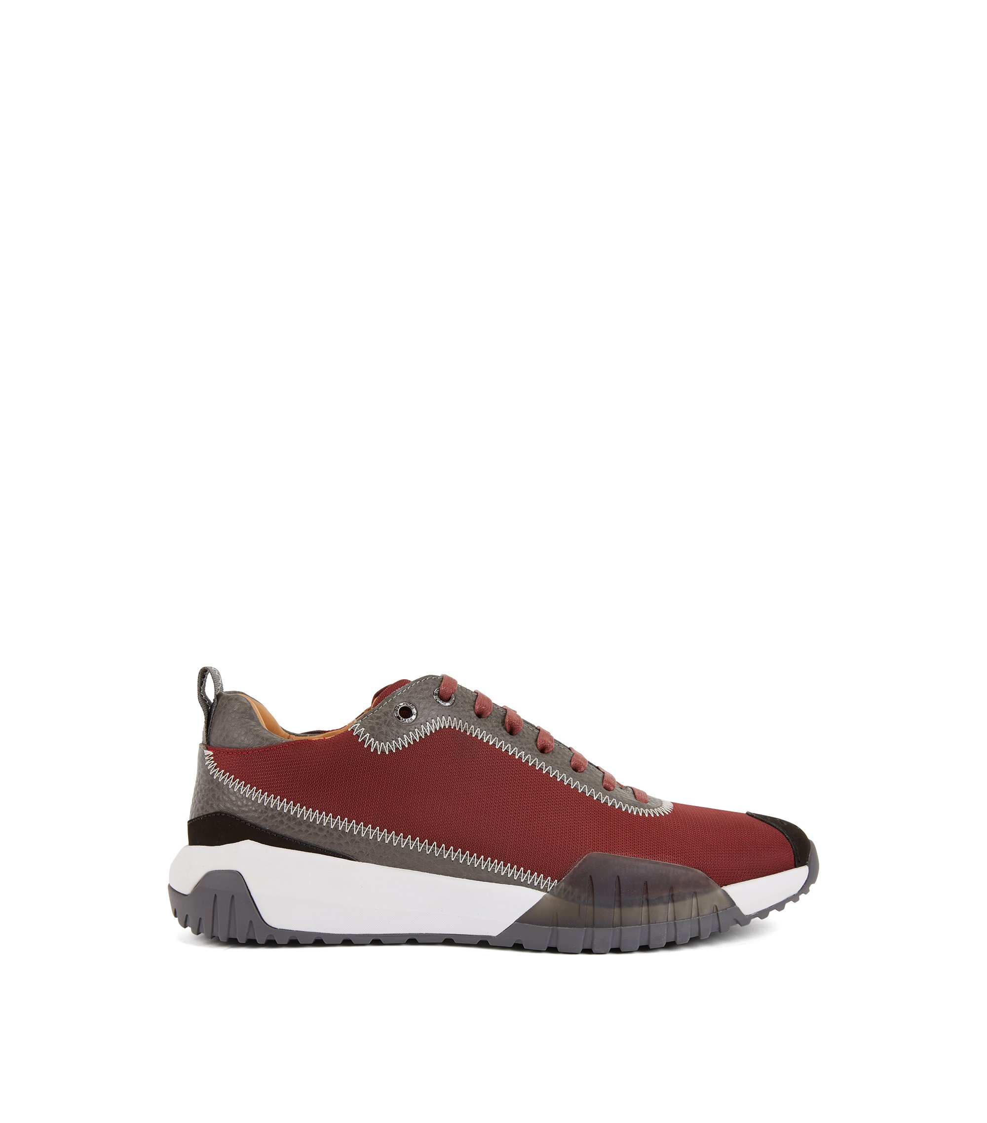 Low-top trainers in nylon with leather details, Dark Red