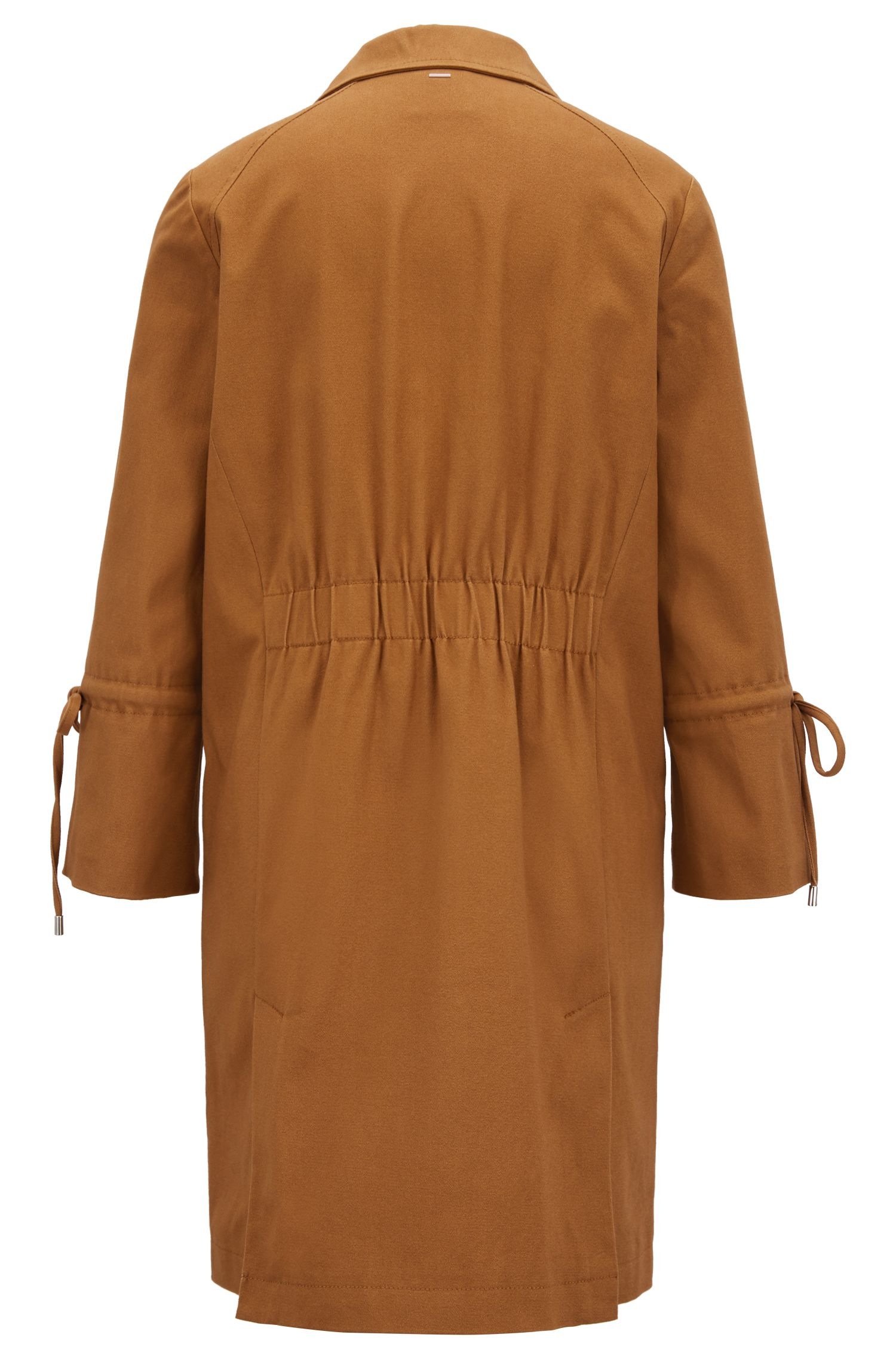 Peached stretch-cotton coat with gathered sleeves, Brown