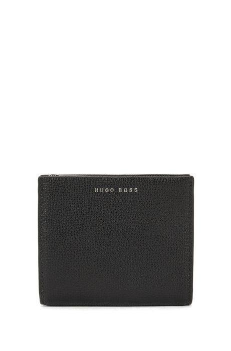 Compact wallet in grainy Italian leather with embossed logo, Black