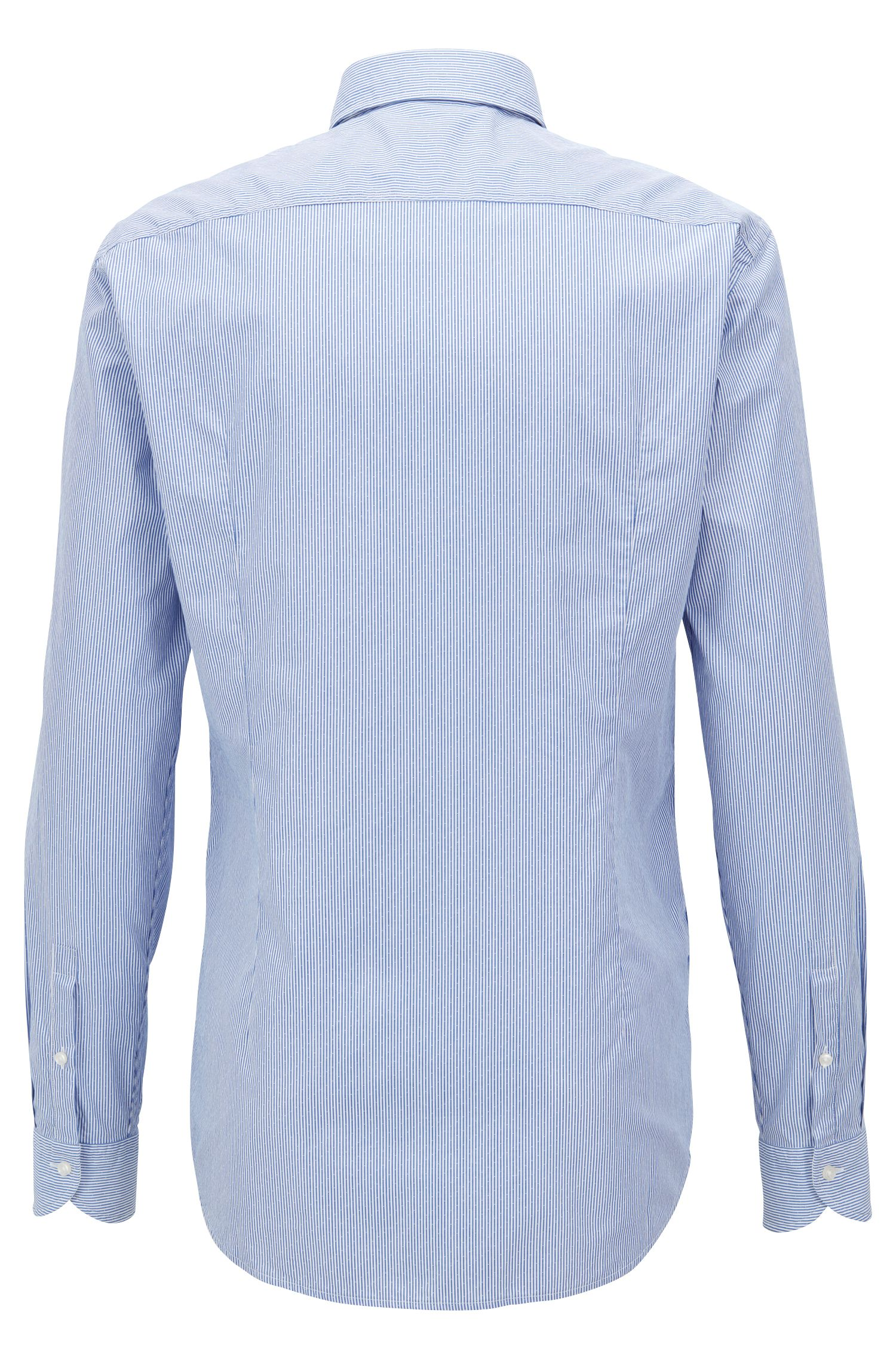 Slim-fit shirt in striped dobby cotton poplin, Blue
