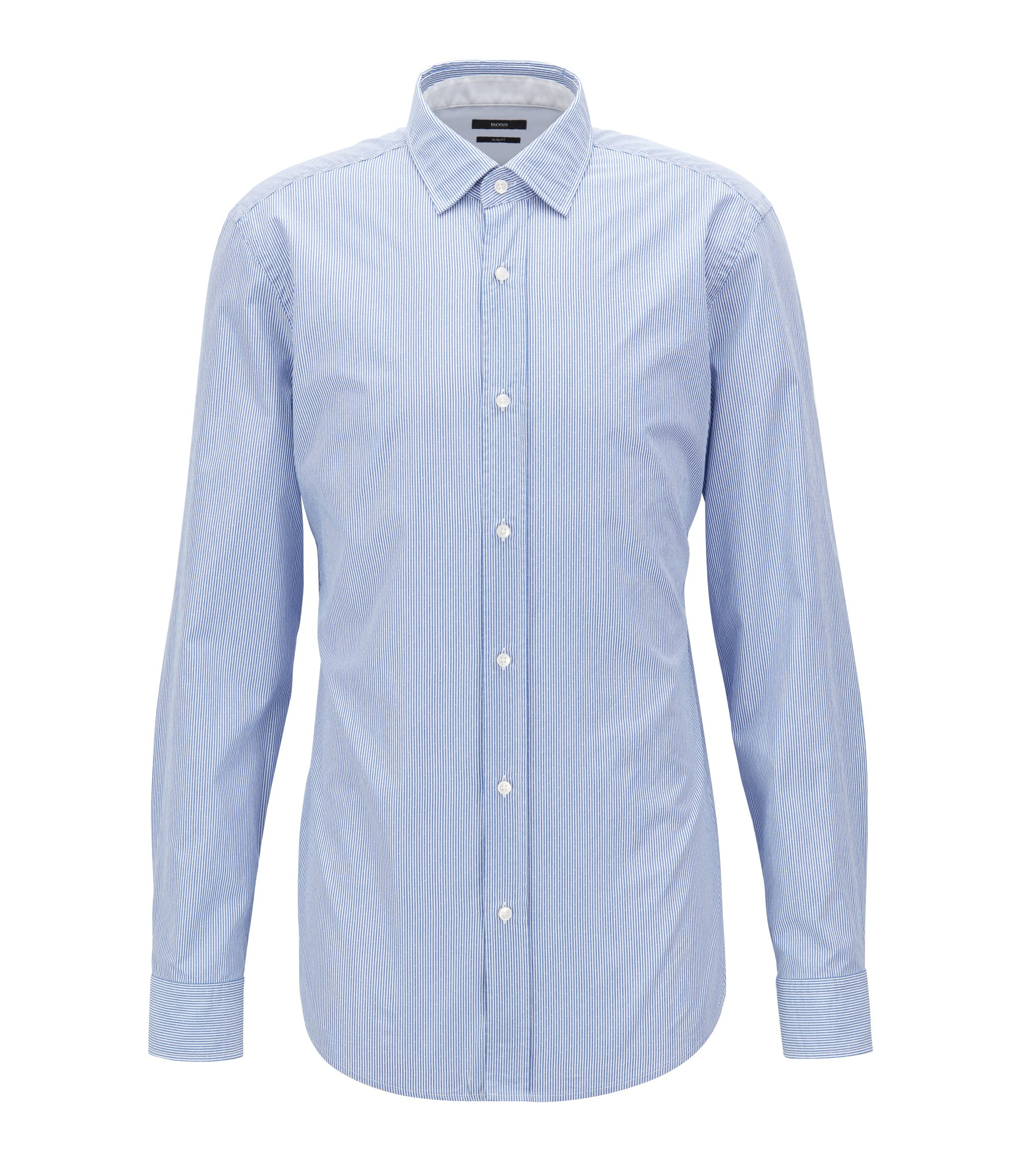 Slim-fit shirt in striped dobby cotton poplin, Blue