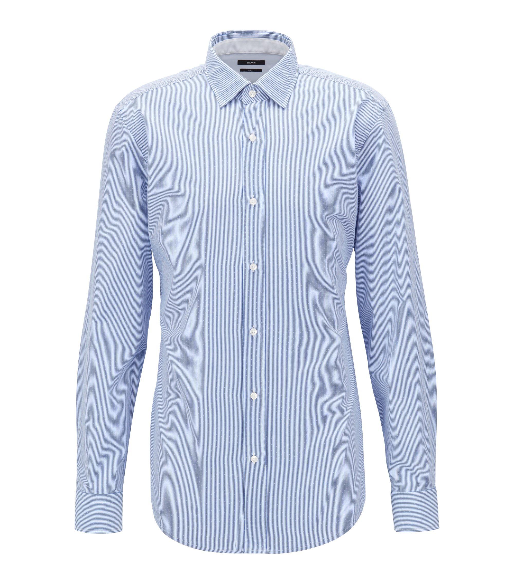 Slim-Fit Hemd aus strukturierter Baumwoll-Popeline mit Streifen, Blau