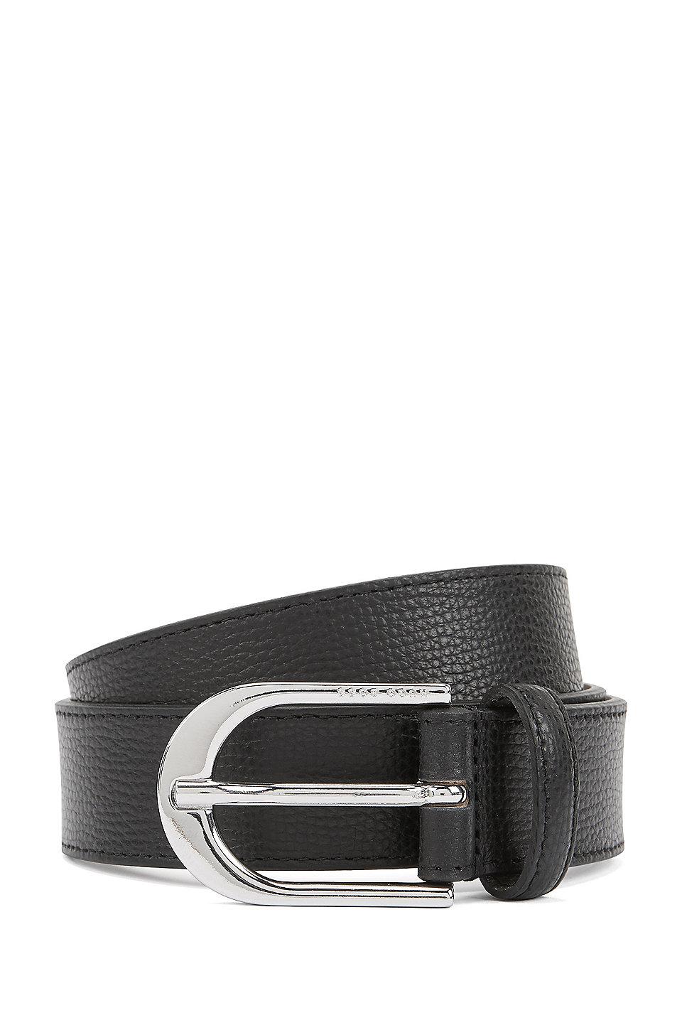 67852bf4533 BOSS - Cinturón de piel italiana con hebilla plateada pulida