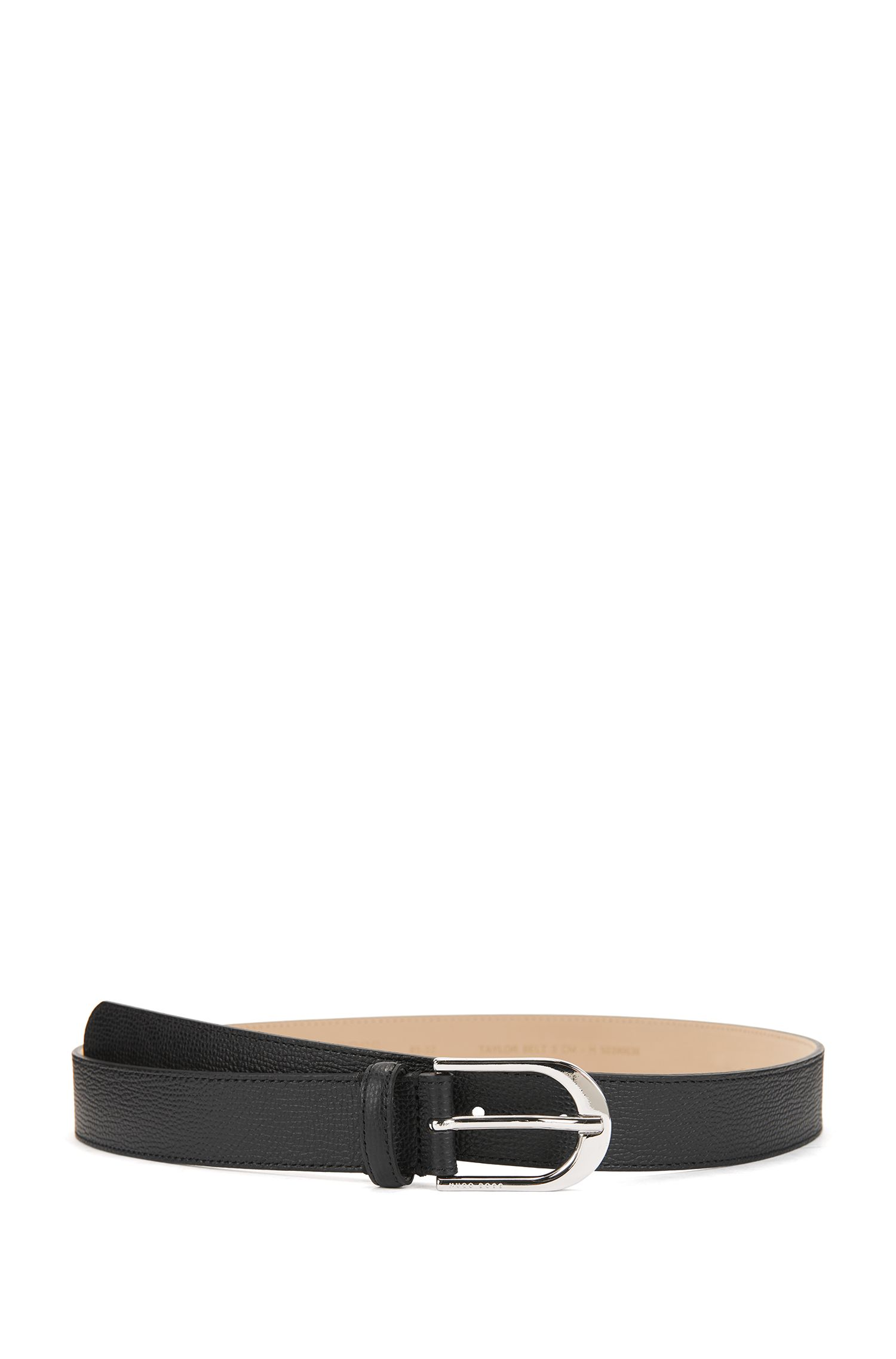 Italian-leather belt with polished silver-effect buckle, Black