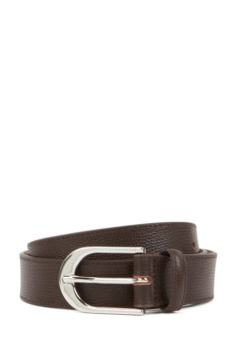 Italian-leather belt with polished silver-effect buckle, Dark Brown
