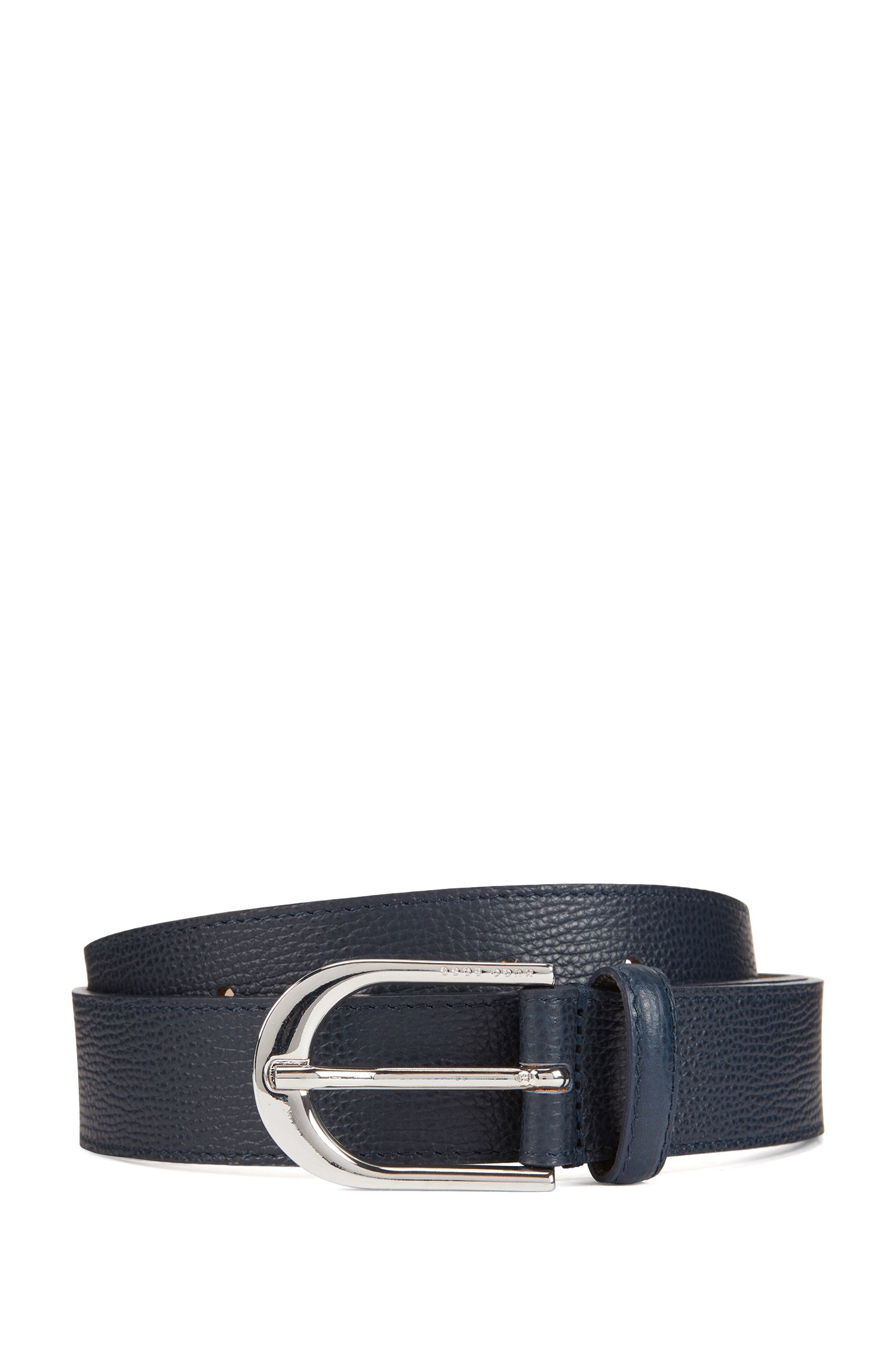 Italian-leather belt with polished silver-effect buckle, Dark Blue