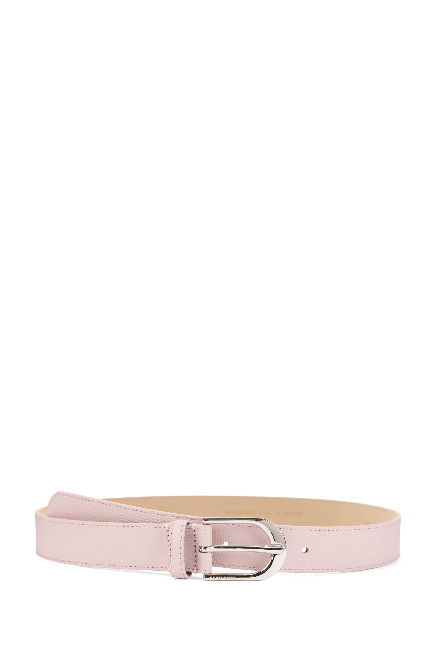 Cinturón de piel italiana con hebilla plateada pulida, Rosa claro
