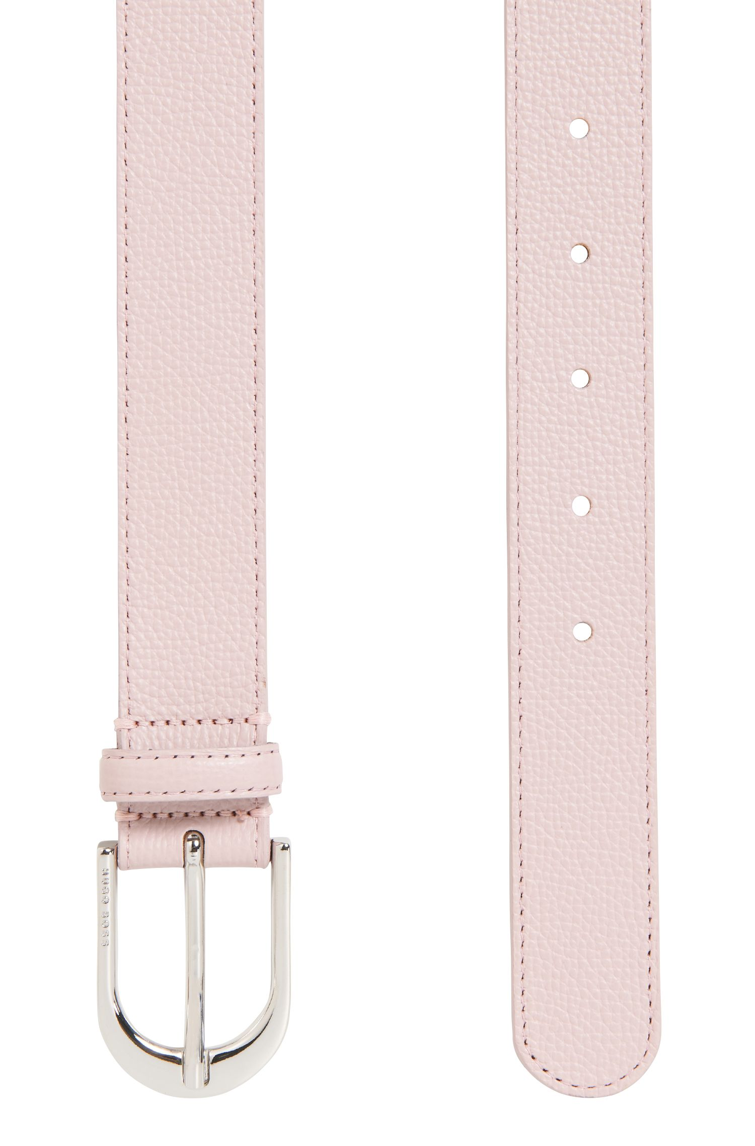 Italian-leather belt with polished silver-effect buckle, light pink