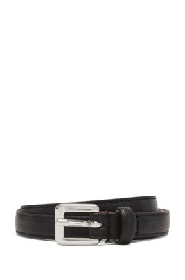 Slim belt in grained Italian leather, Black