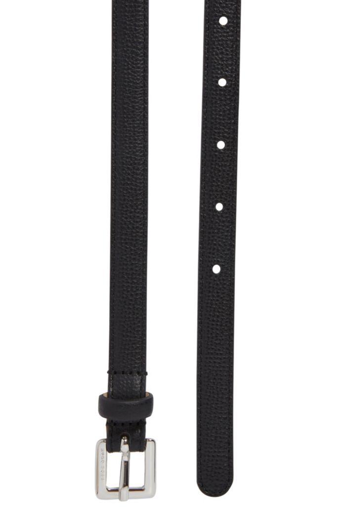 Slim belt in grained Italian leather