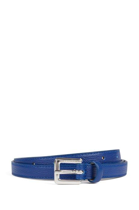 Schmaler Gürtel aus genarbtem italienischem Leder, Blau