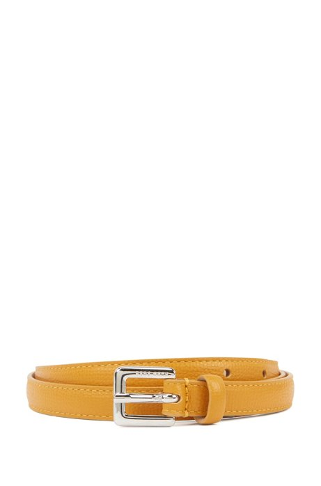 Slim belt in grained Italian leather, Dark Yellow