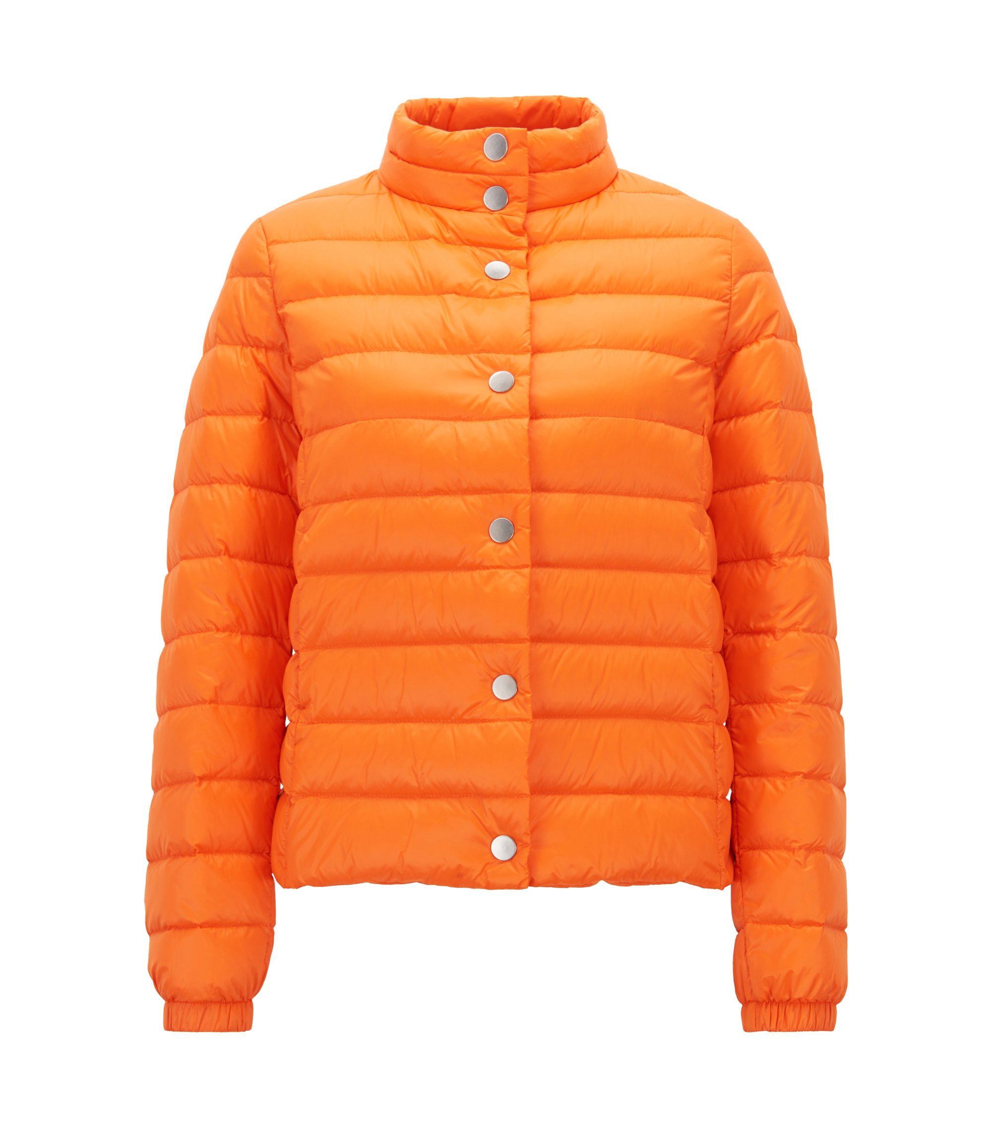 Lightweight water-repellent down jacket with packable bag, Orange