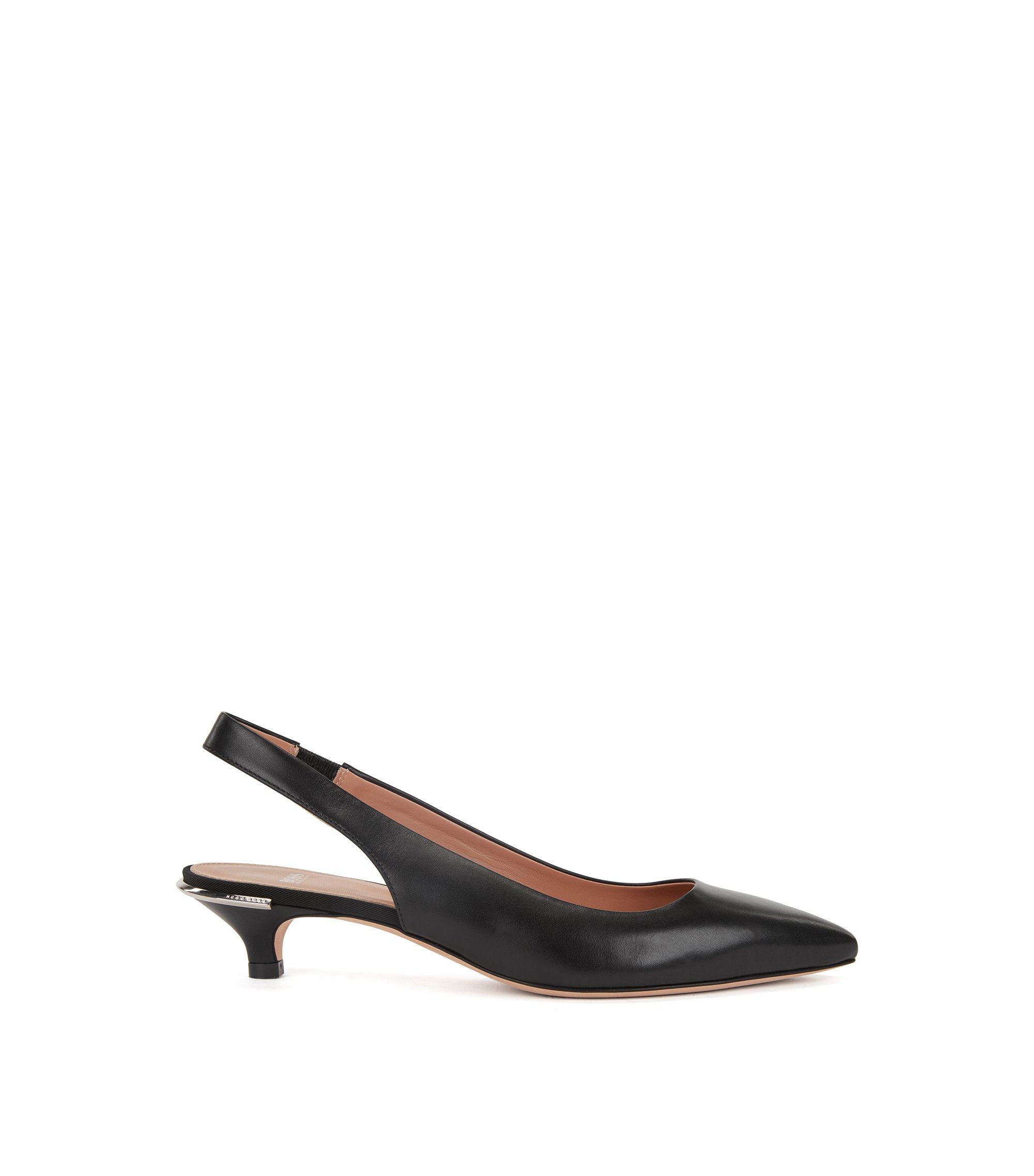 Calf-leather pumps with silver-trimmed kitten heel, Black