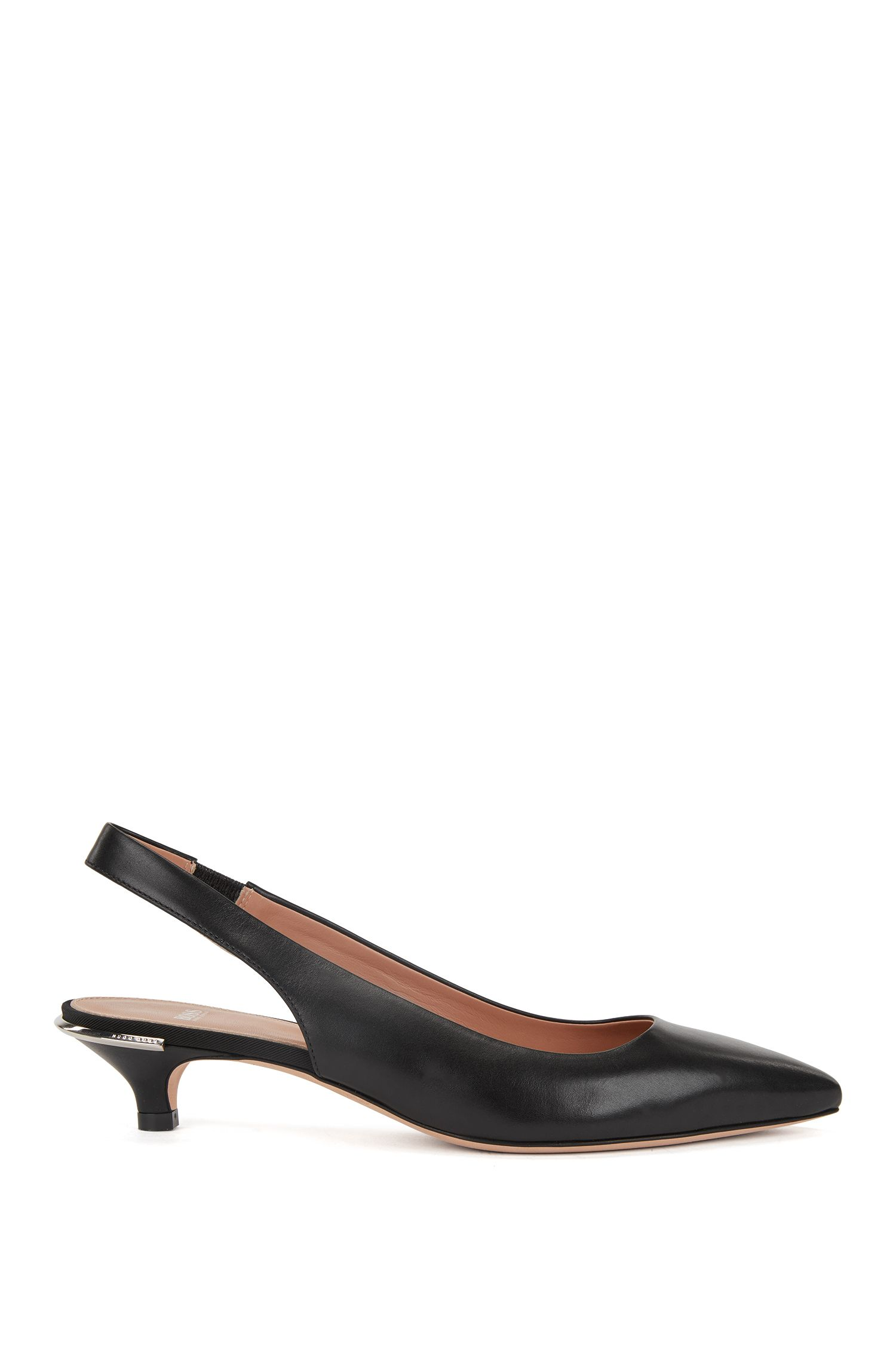 Calf-leather pumps with silver-trimmed kitten heel
