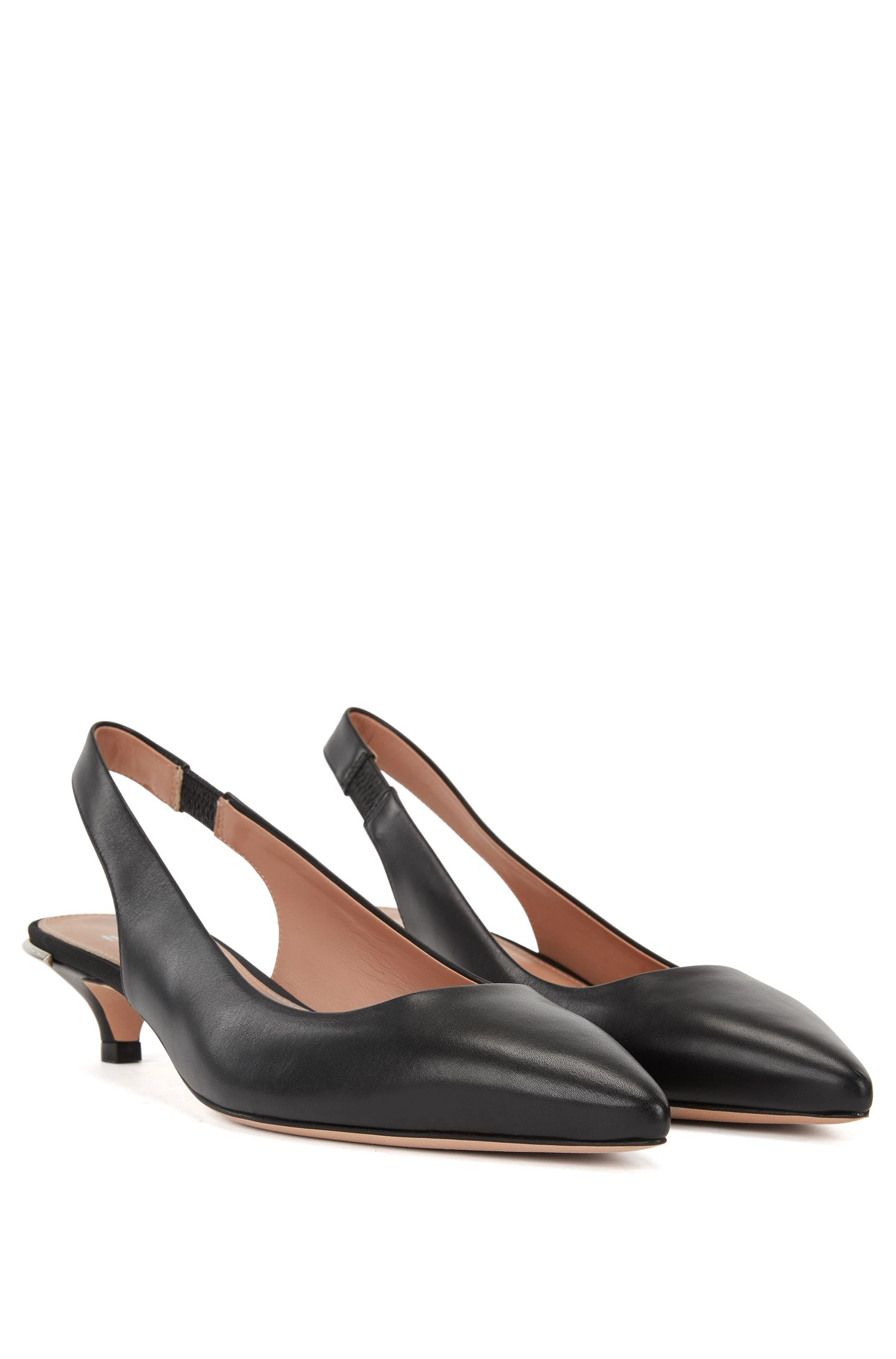 Calf-leather pumps with silver-trimmed kitten heel BOSS