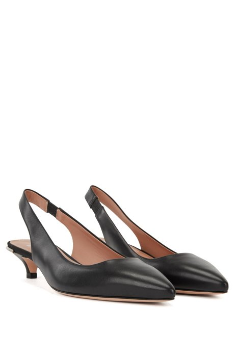 Free Shipping Fake Explore Sale Online Calf-leather pumps with silver-trimmed kitten heel BOSS 0gaej