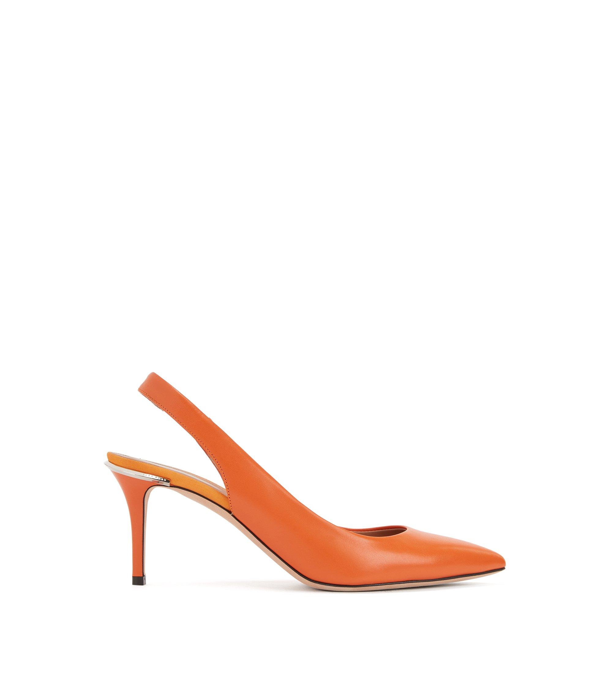 Italian calf-leather pumps with metal-trimmed heel, Orange