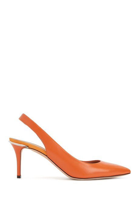 Italian calf-leather pumps with metal-trimmed heel, Orange