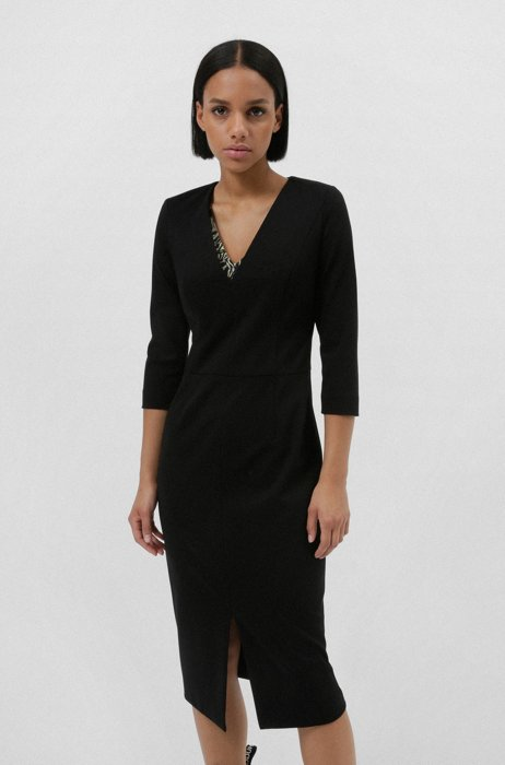 Slim-fit dress in stretch jersey with deep V-neck, Black