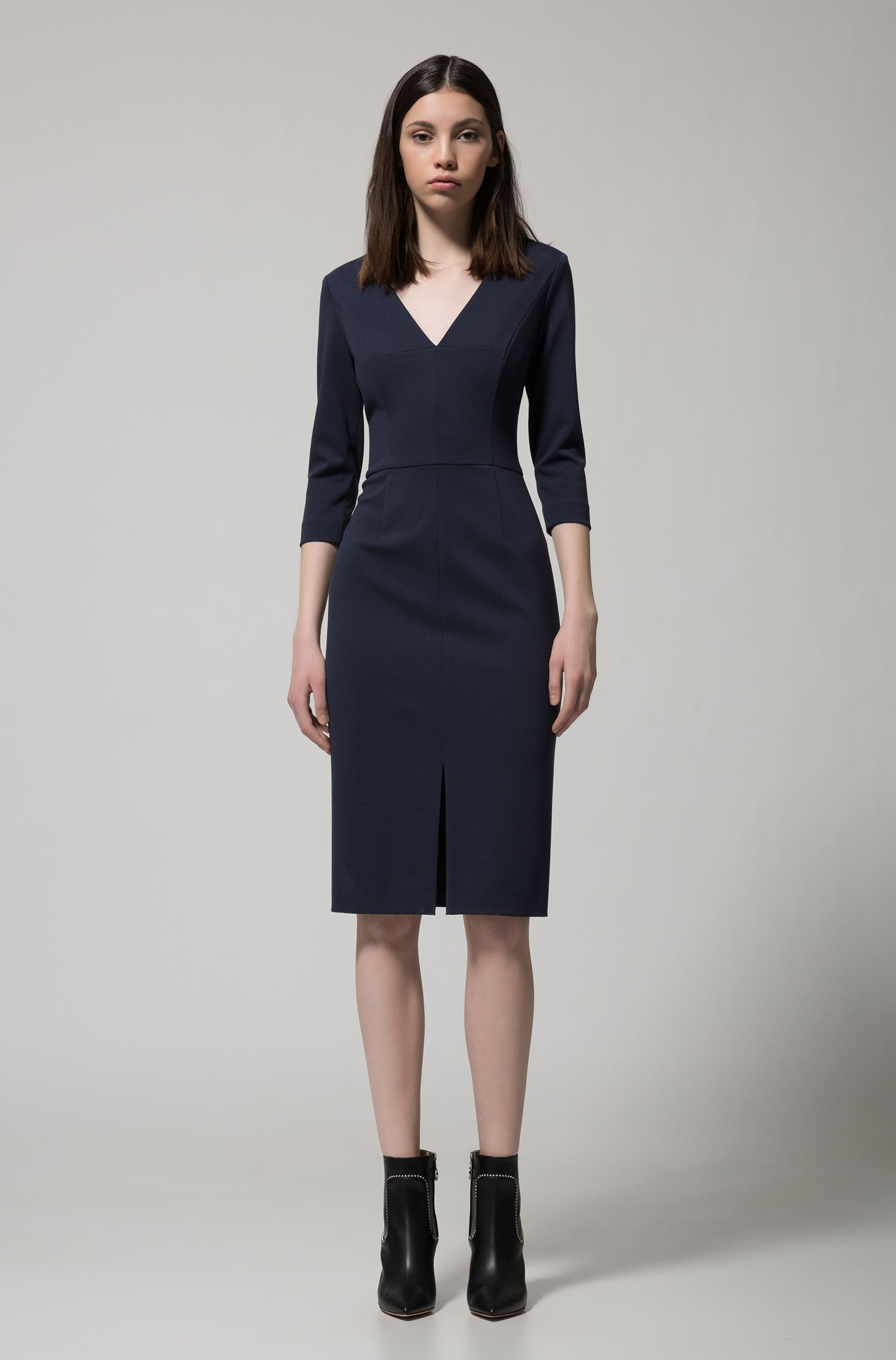 Slim-fit dress in stretch jersey with deep V-neck