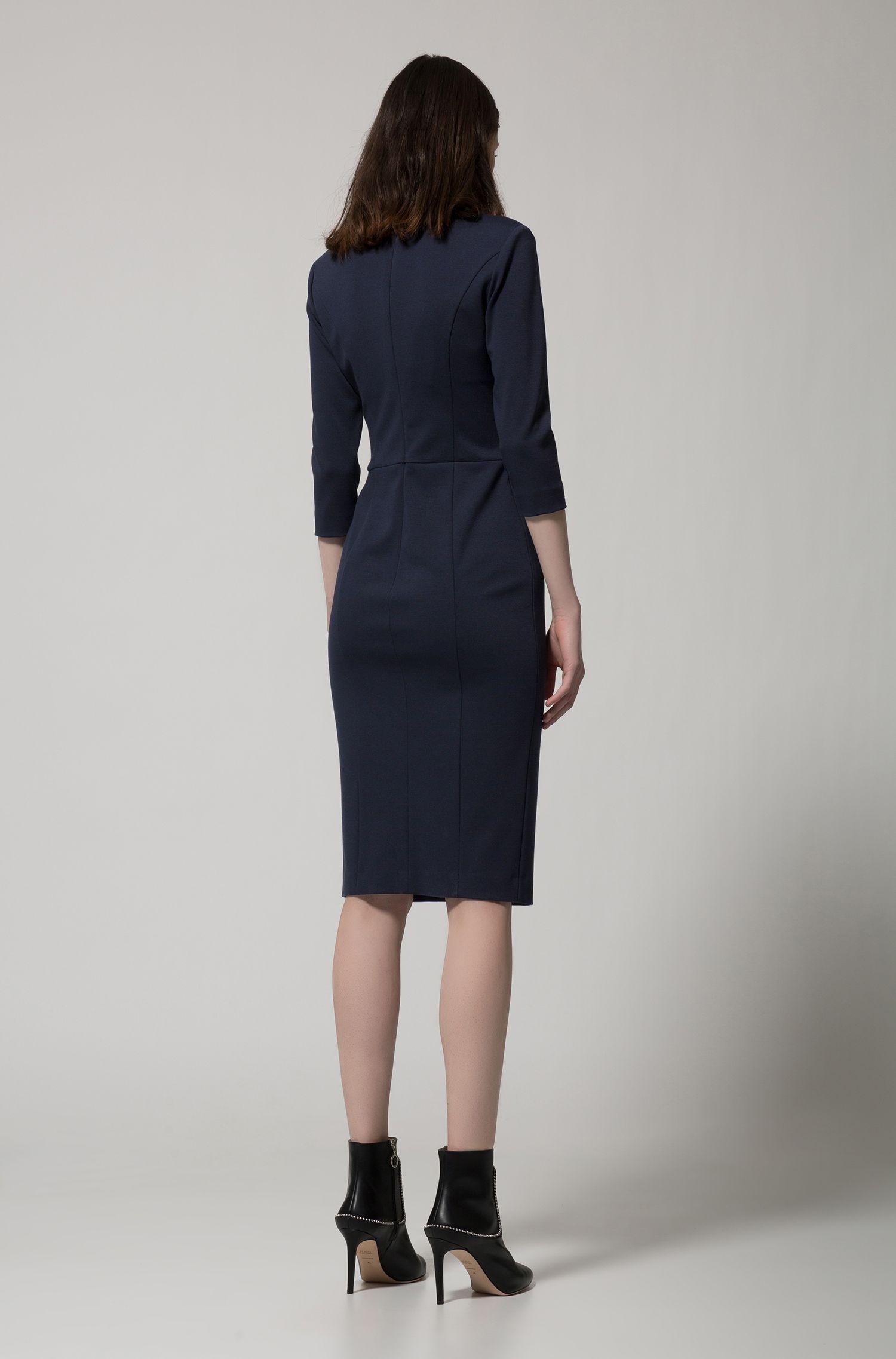 Kleid aus Stretch-Jersey mit tiefem V-Ausschnitt, Dunkelblau