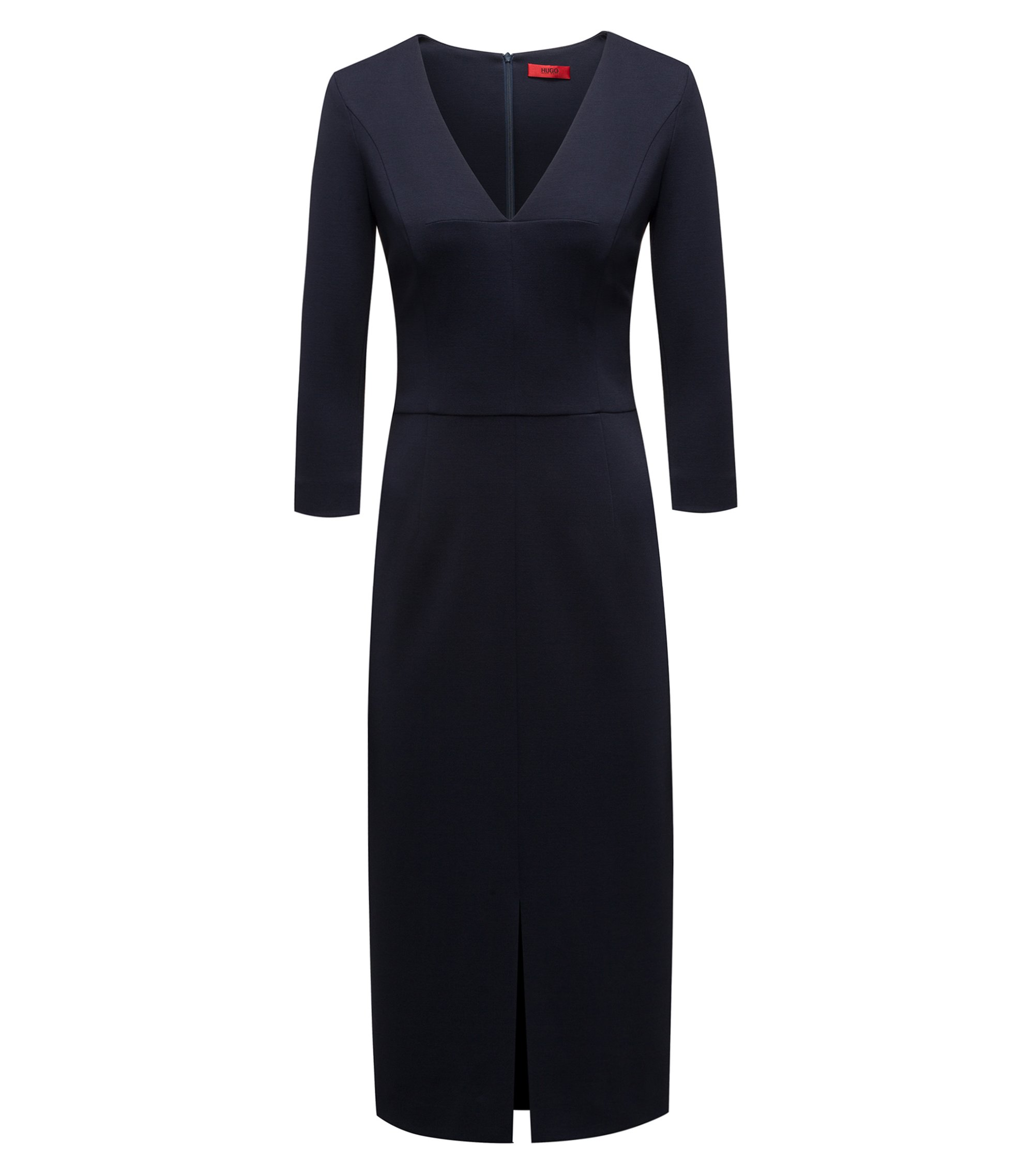 Slim-fit dress in stretch jersey with deep V-neck, Dark Blue