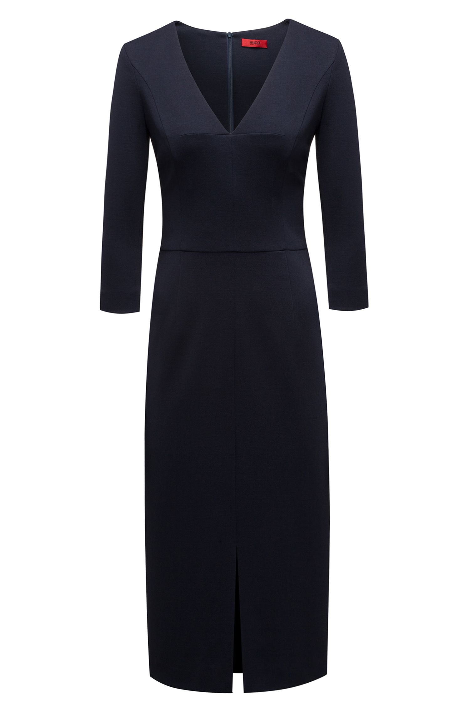 Slim-fit dress in stretch jersey with deep V-neck HUGO BOSS