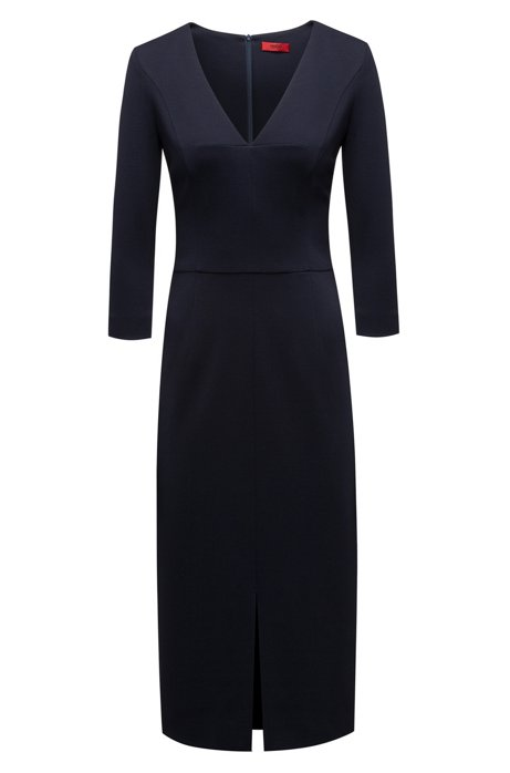 Slim-fit dress in stretch jersey with deep V-neck HUGO BOSS bMlLKLy