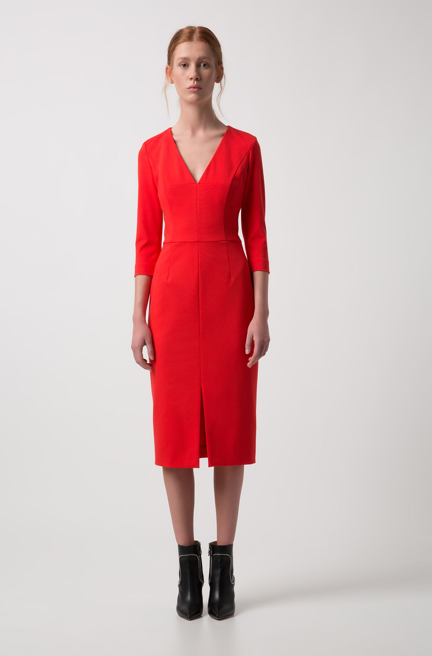 Slim-fit dress in stretch jersey with deep V-neck, Red