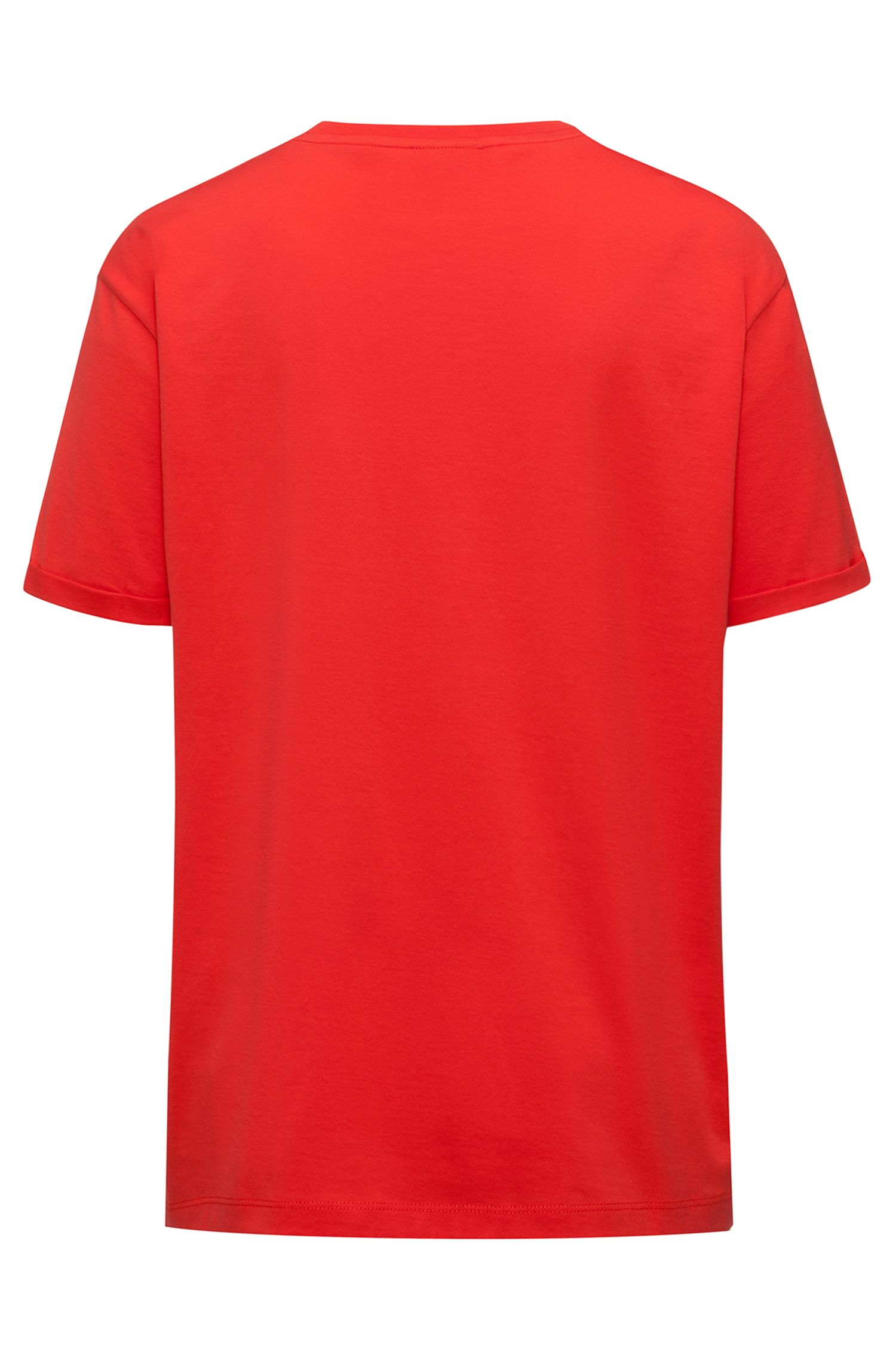 Camiseta relaxed fit de algodón con aplique de ave, Rojo