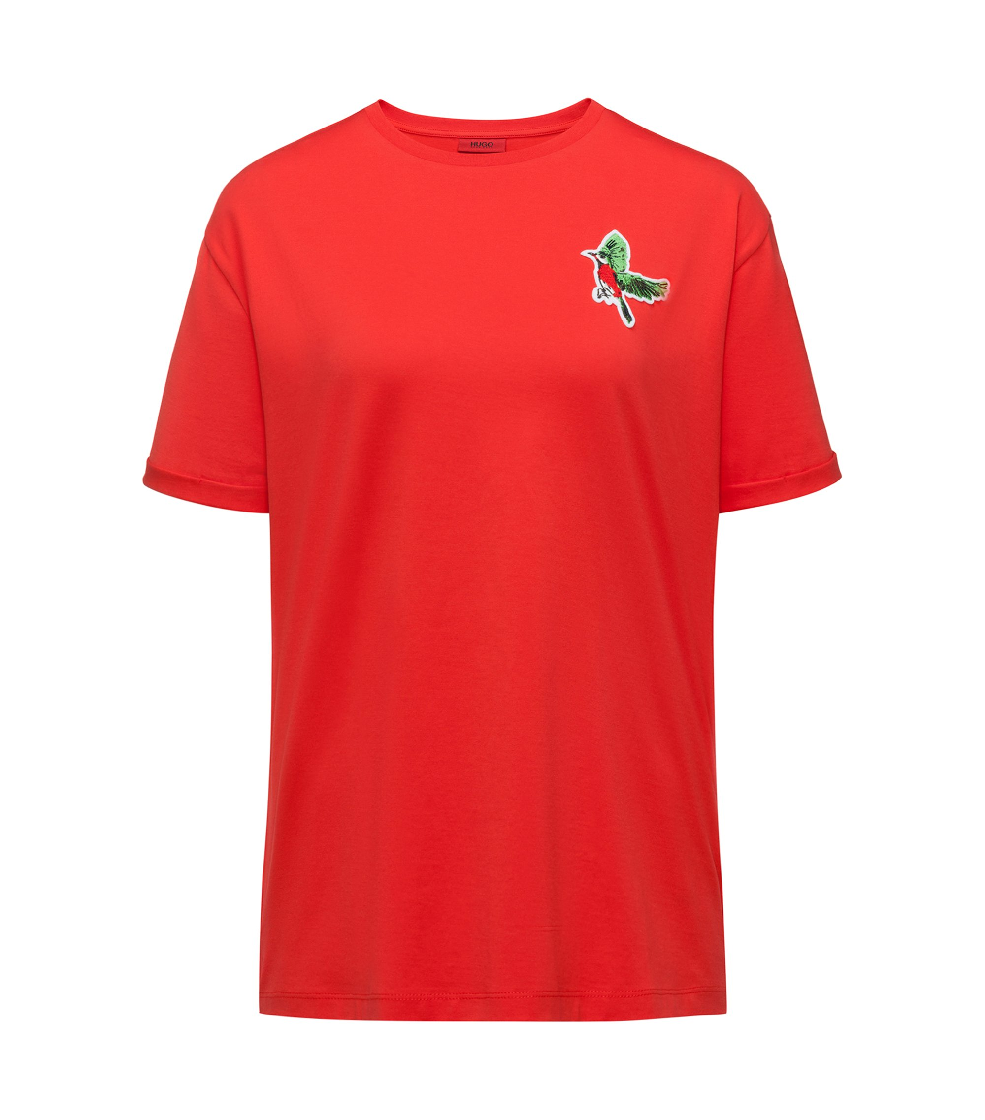 Relaxed-fit T-shirt in cotton with bird appliqué, Red