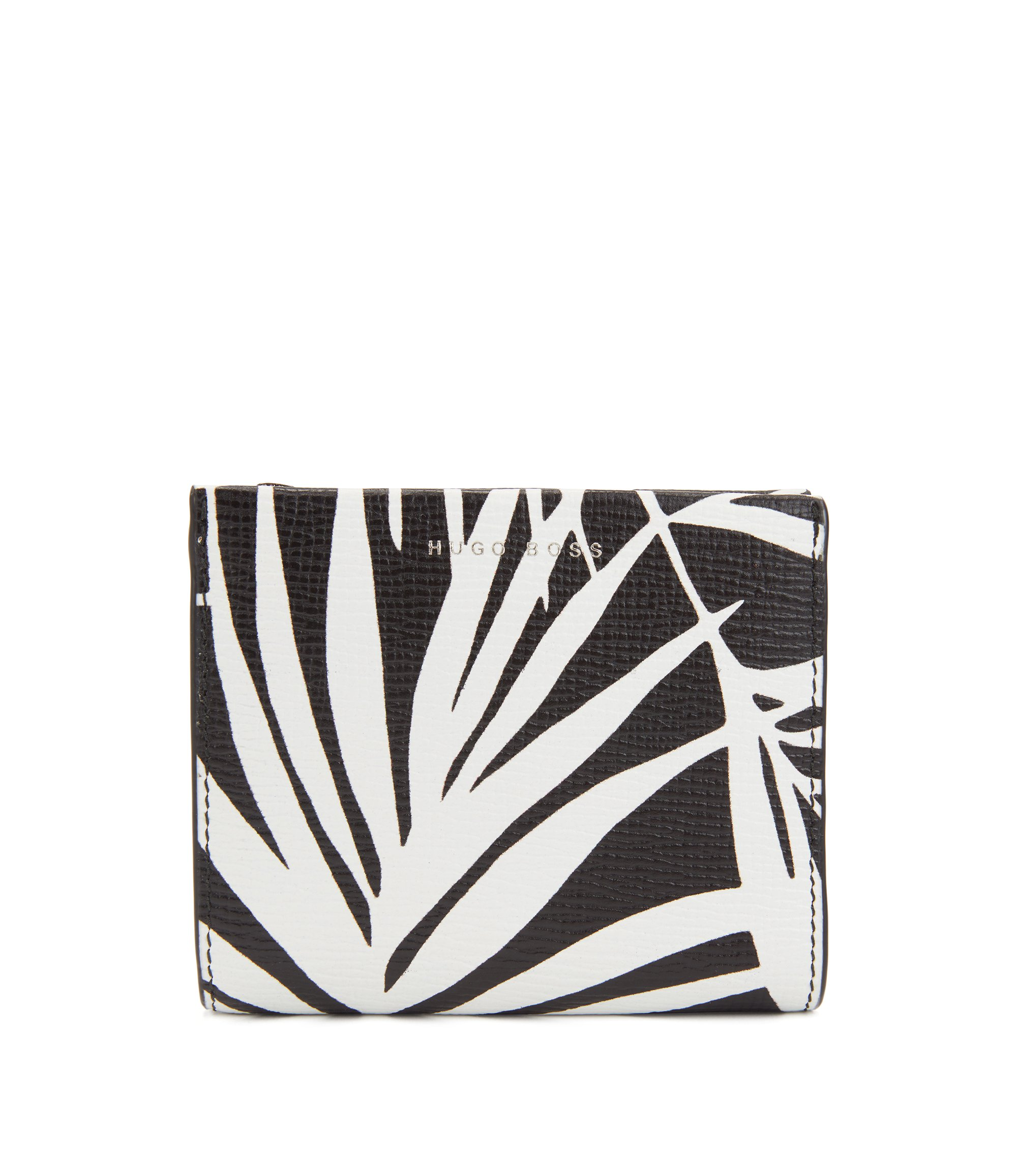 Palm-leaf print wallet in Italian calf leather, Black