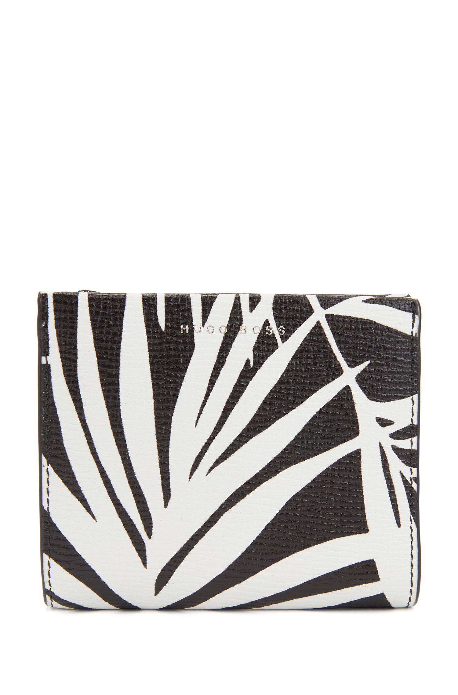 Geldbörse aus italienischem Leder mit Palmenblatt-Print, Schwarz