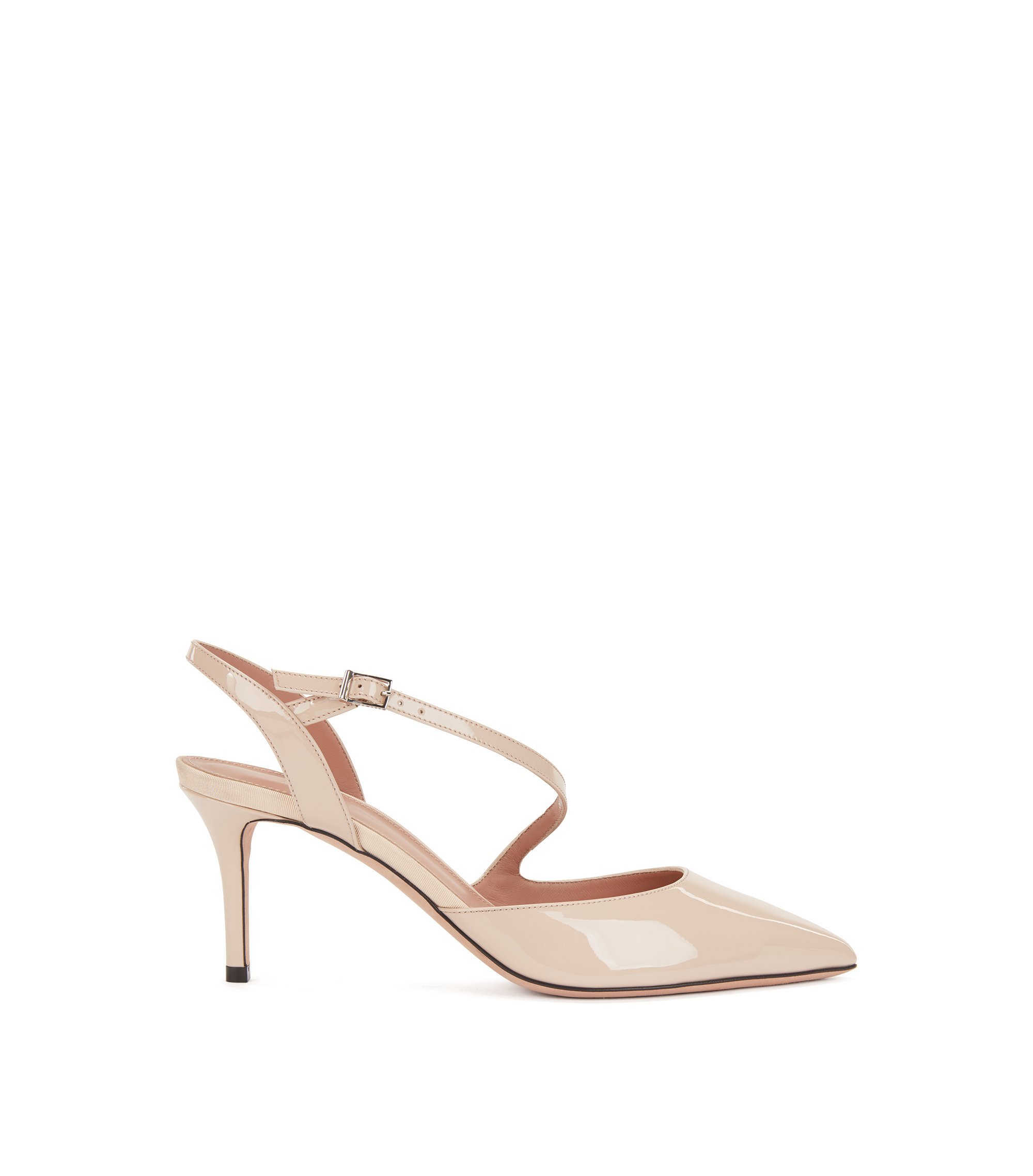 Slingback pumps in Italian patent calf leather, Light Beige