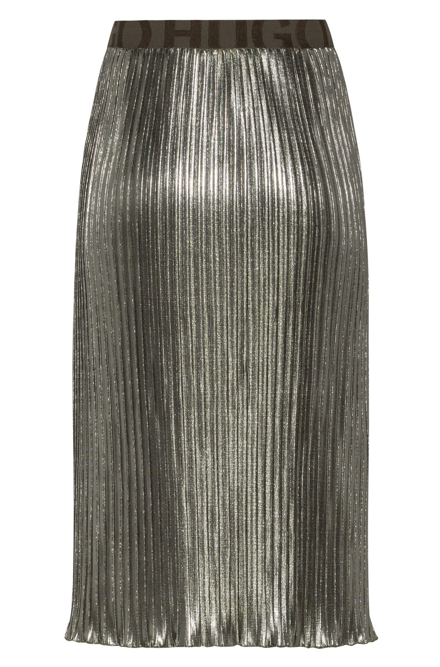 Plissee-Midirock aus Metallic-Jersey mit Logo-Dessin am Bund