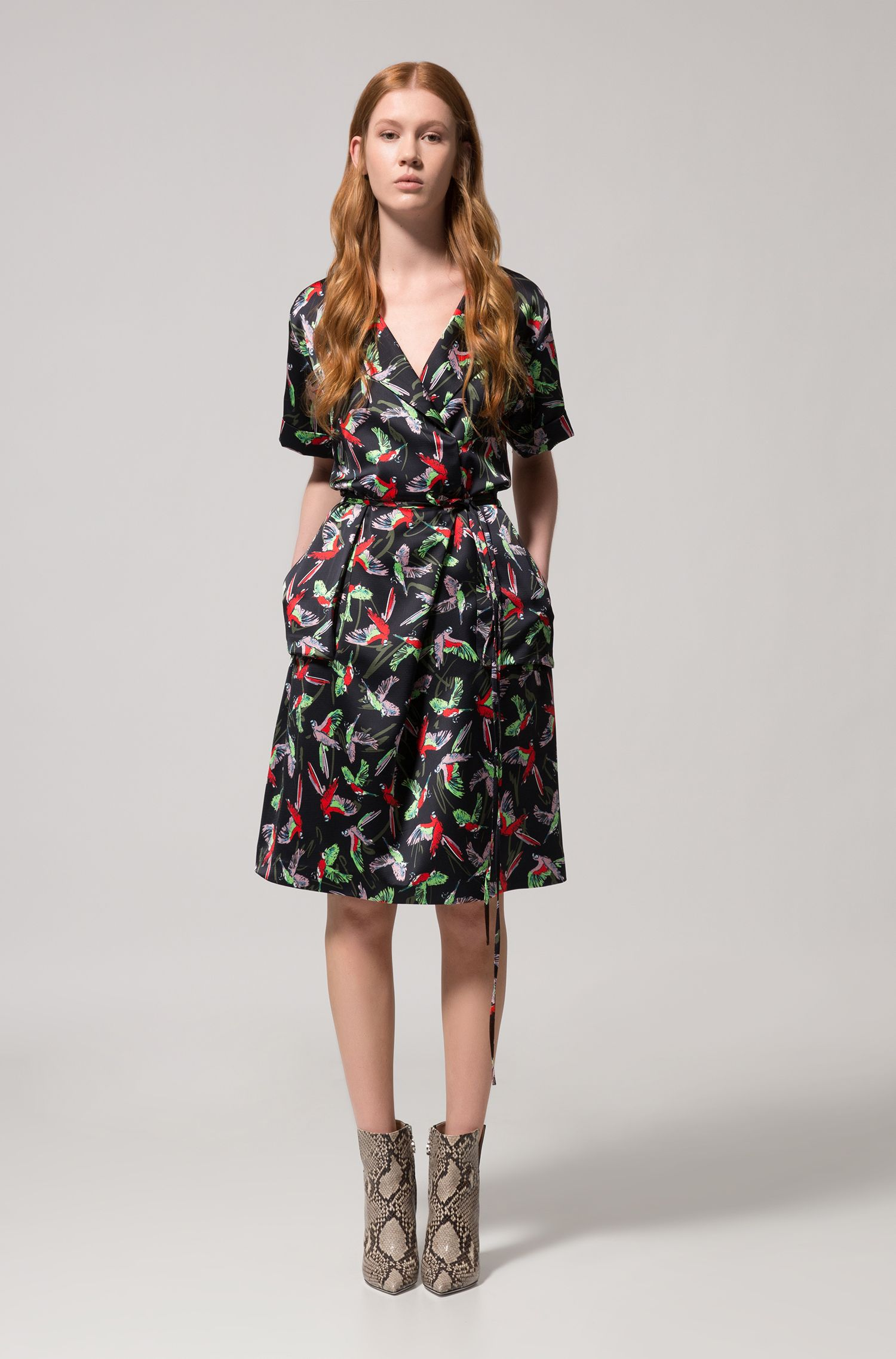 Kimono-inspired wrap dress with bird print, Patterned