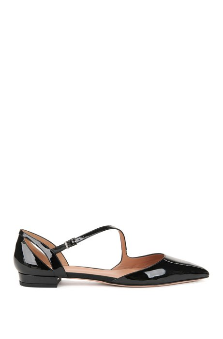Patent calf-leather ballerina pumps with asymmetric strap BOSS O2rS0SnwI