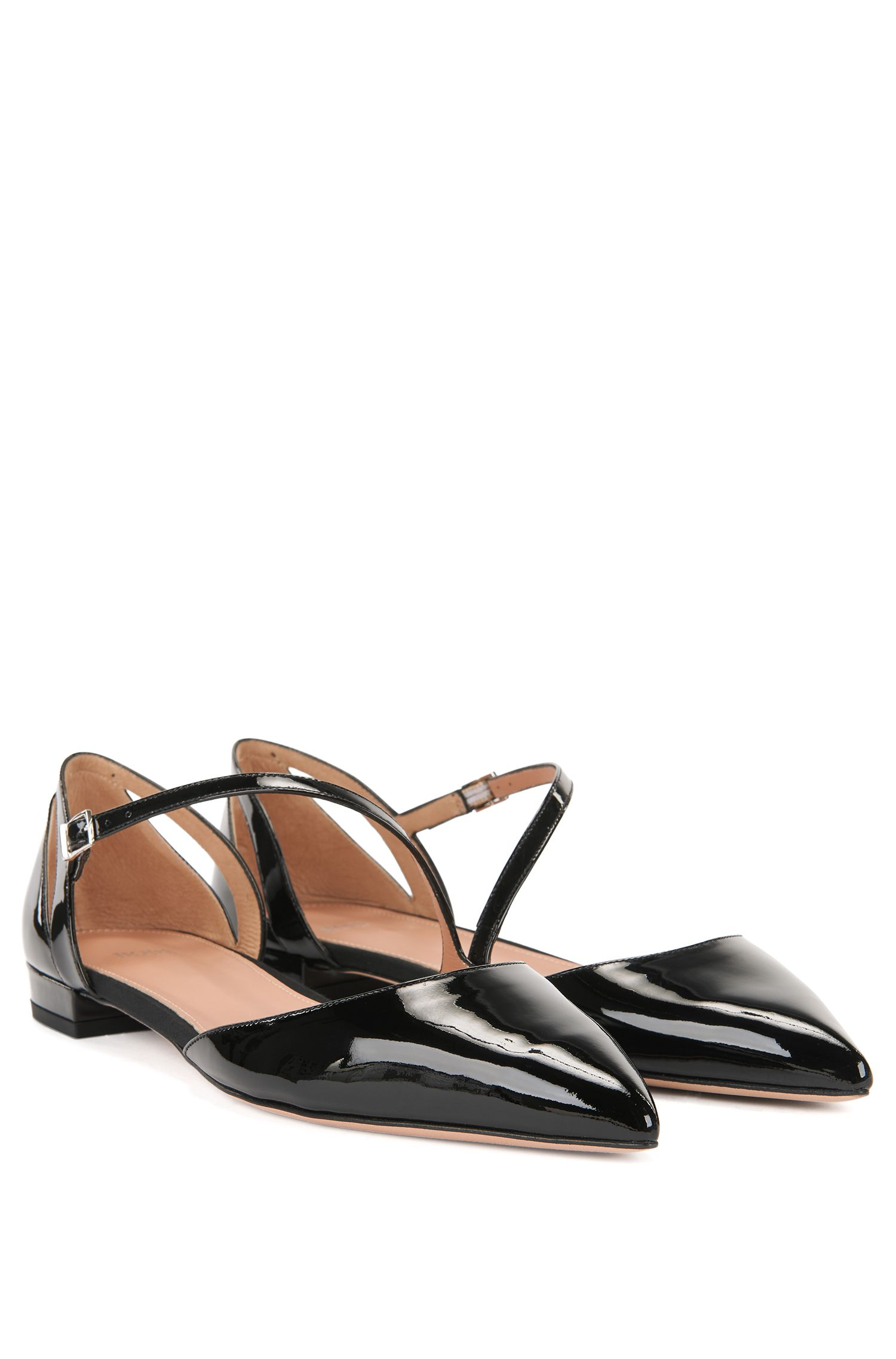 Patent calf-leather ballerina pumps with asymmetric strap BOSS