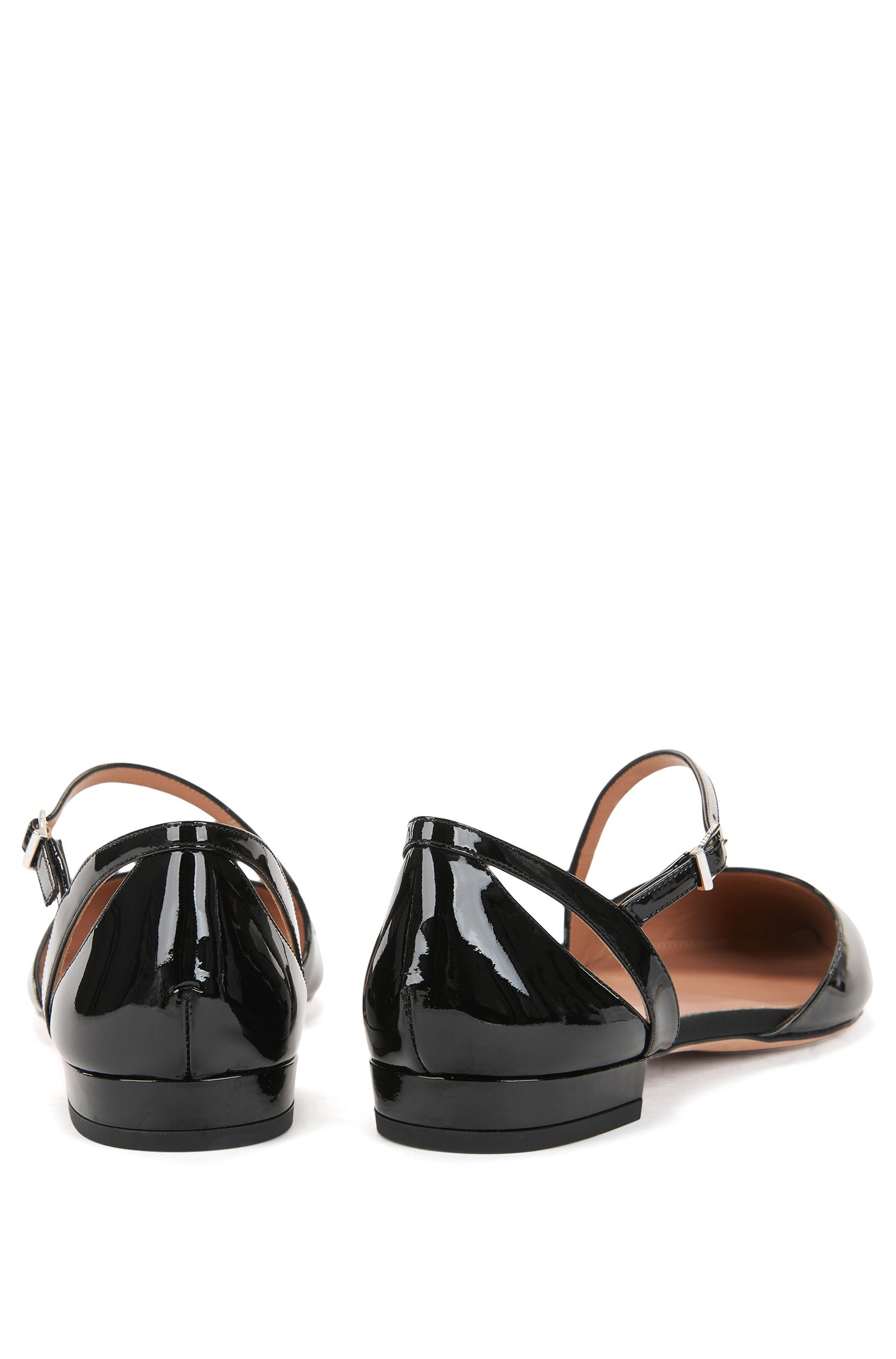 Patent calf-leather ballerina pumps with asymmetric strap, Black