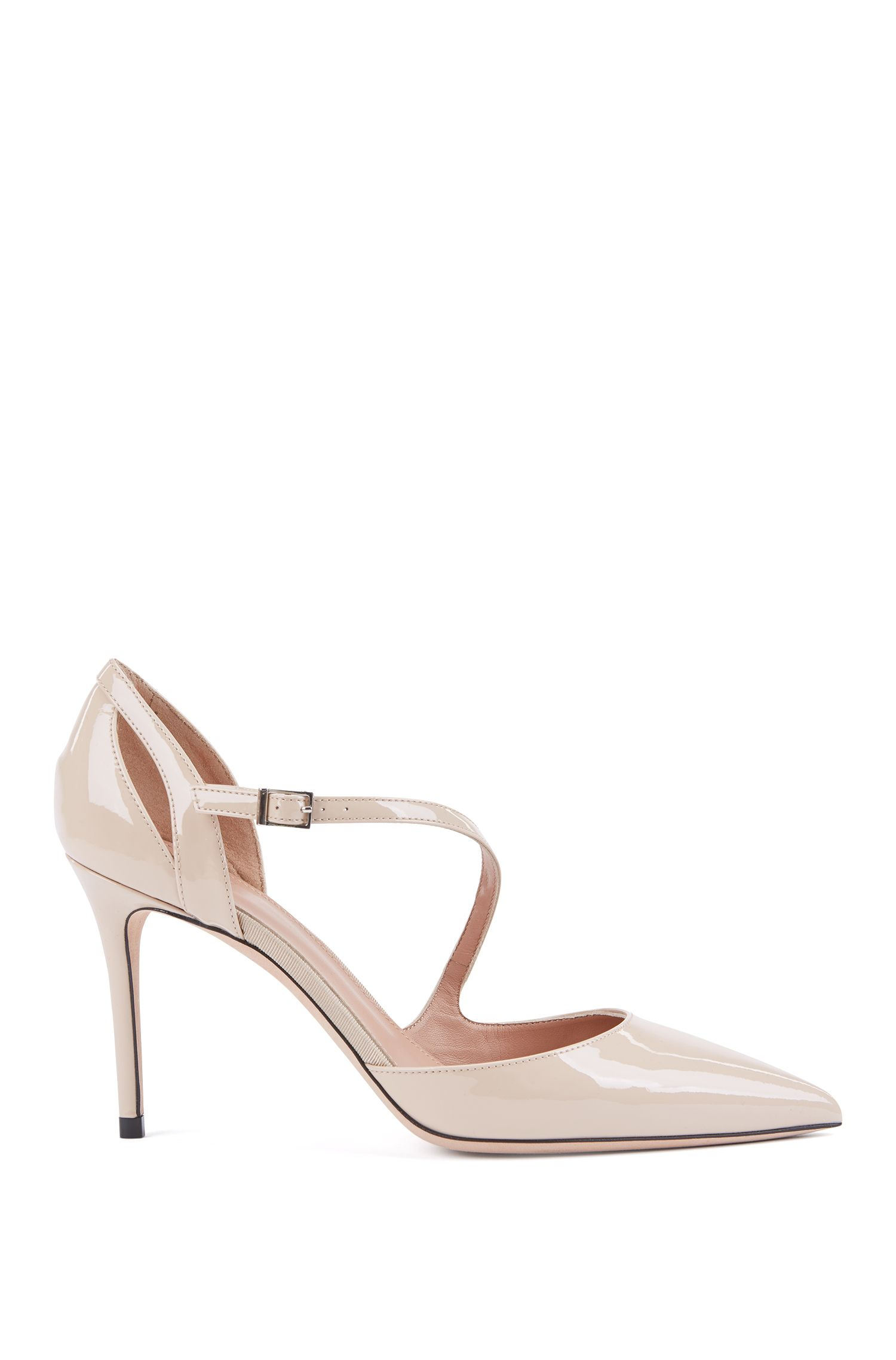 High-heeled patent-leather pumps with asymmetric strap, Light Beige