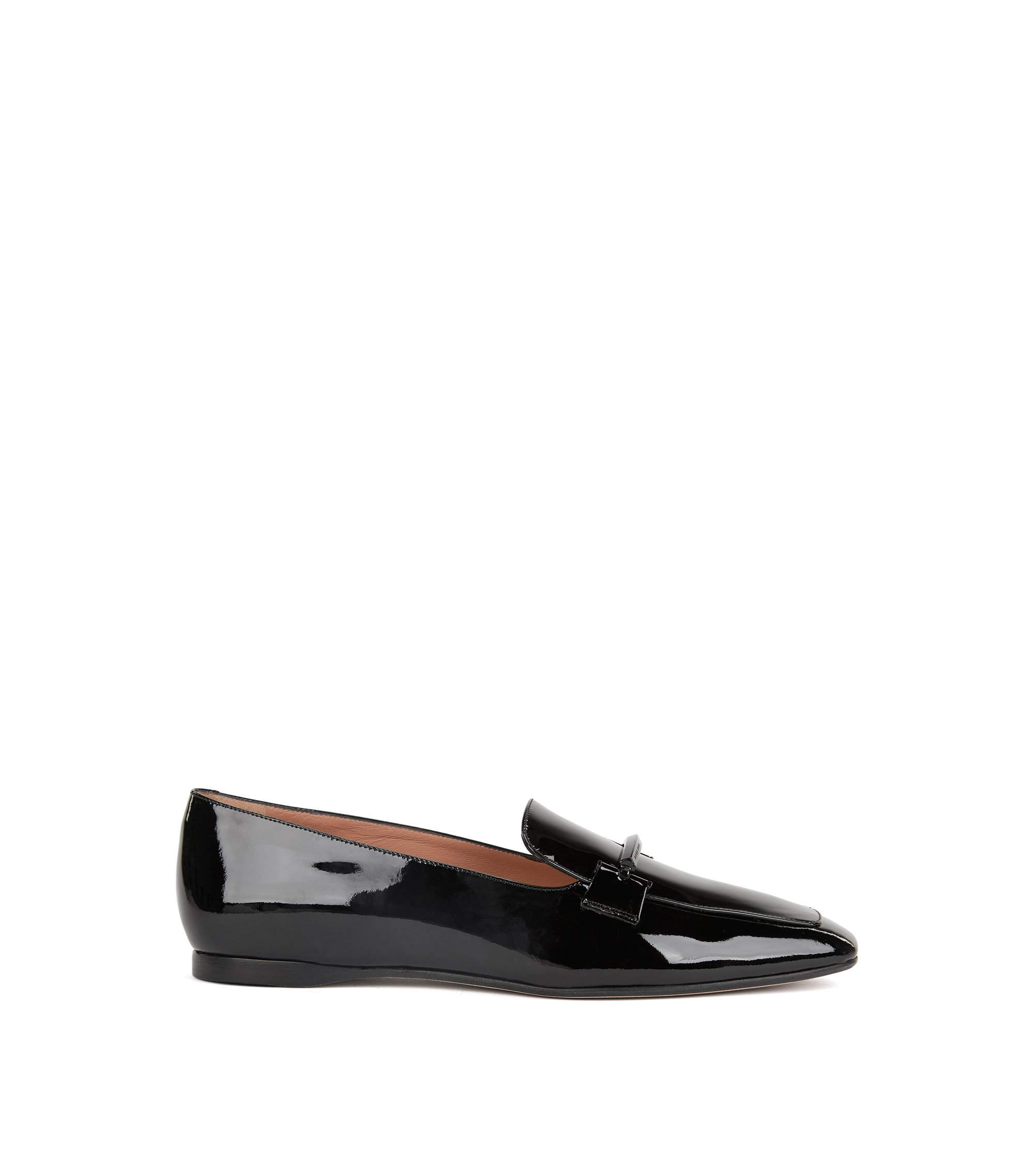 Italian-made patent-leather loafers with metal trim, Black