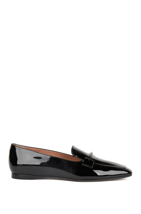 Italian-made patent-leather loafers with metal trim BOSS eoHJXw