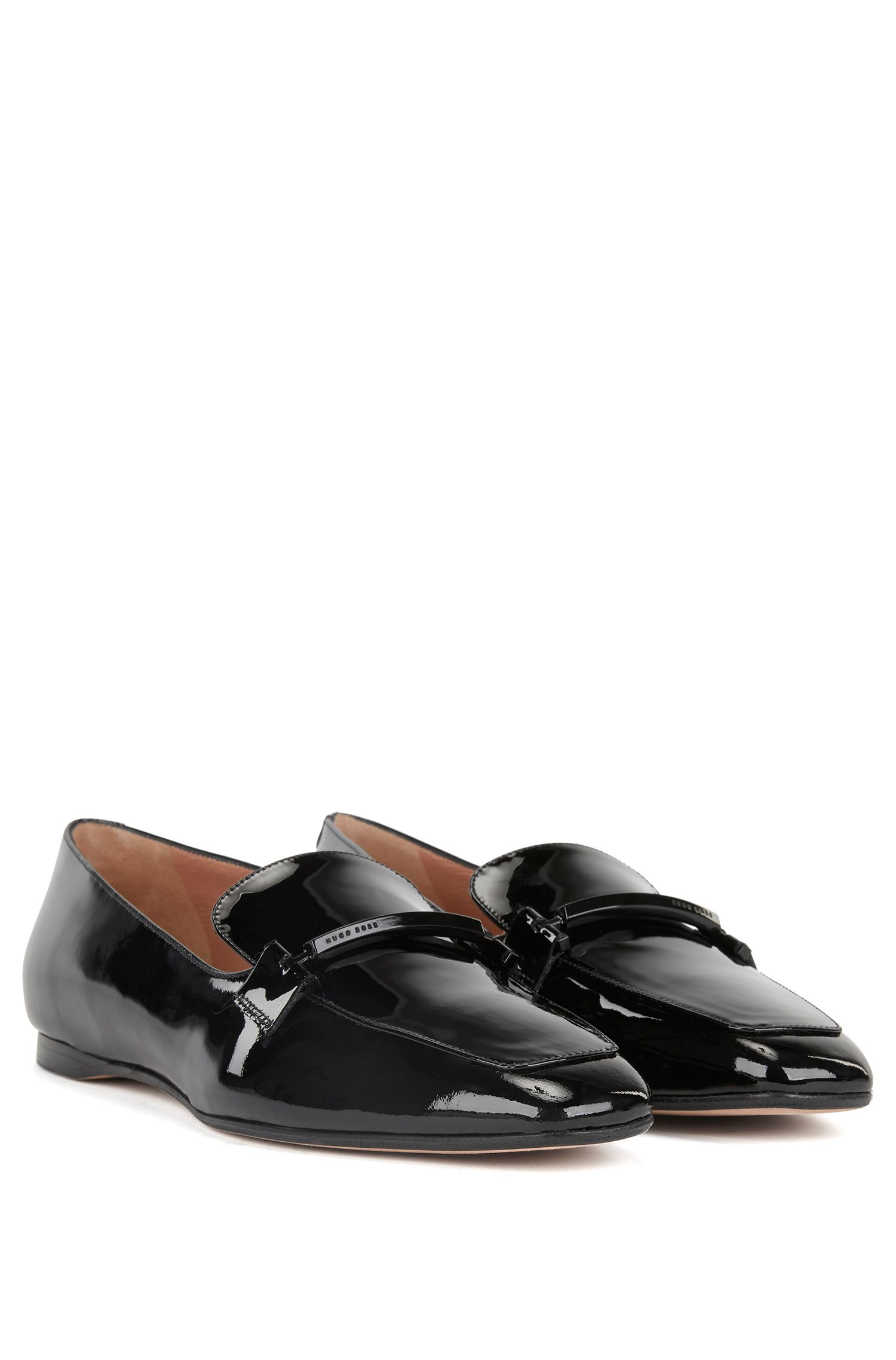 HUGO BOSS Italian-made patent-leather loafers with metal trim