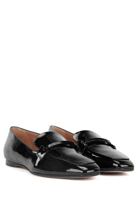 Amazon Cheap Online Get To Buy Sale Online HUGO BOSS Italian-made patent-leather loafers with metal trim Sale 2018 New Pre Order Cheap Online With Paypal Low Price y8BHv6kb0Y