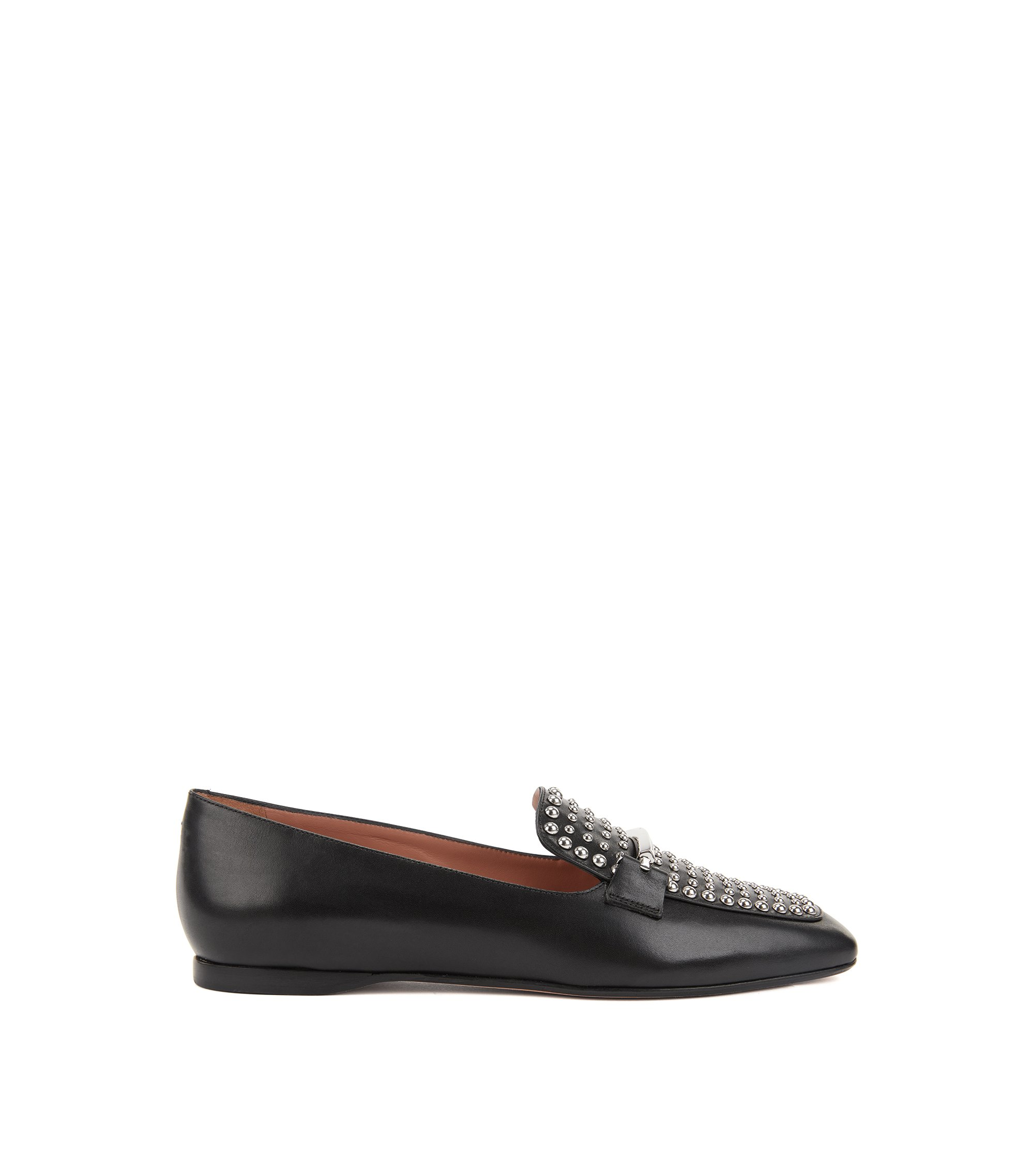 Italian calf-leather loafers with stud detailing, Black