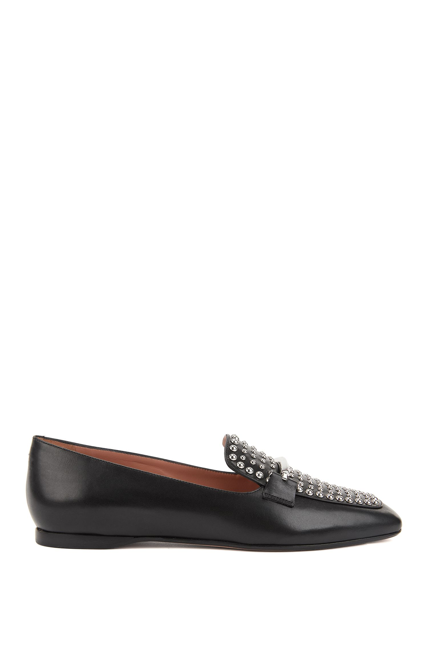 Italian calf-leather loafers with stud detailing