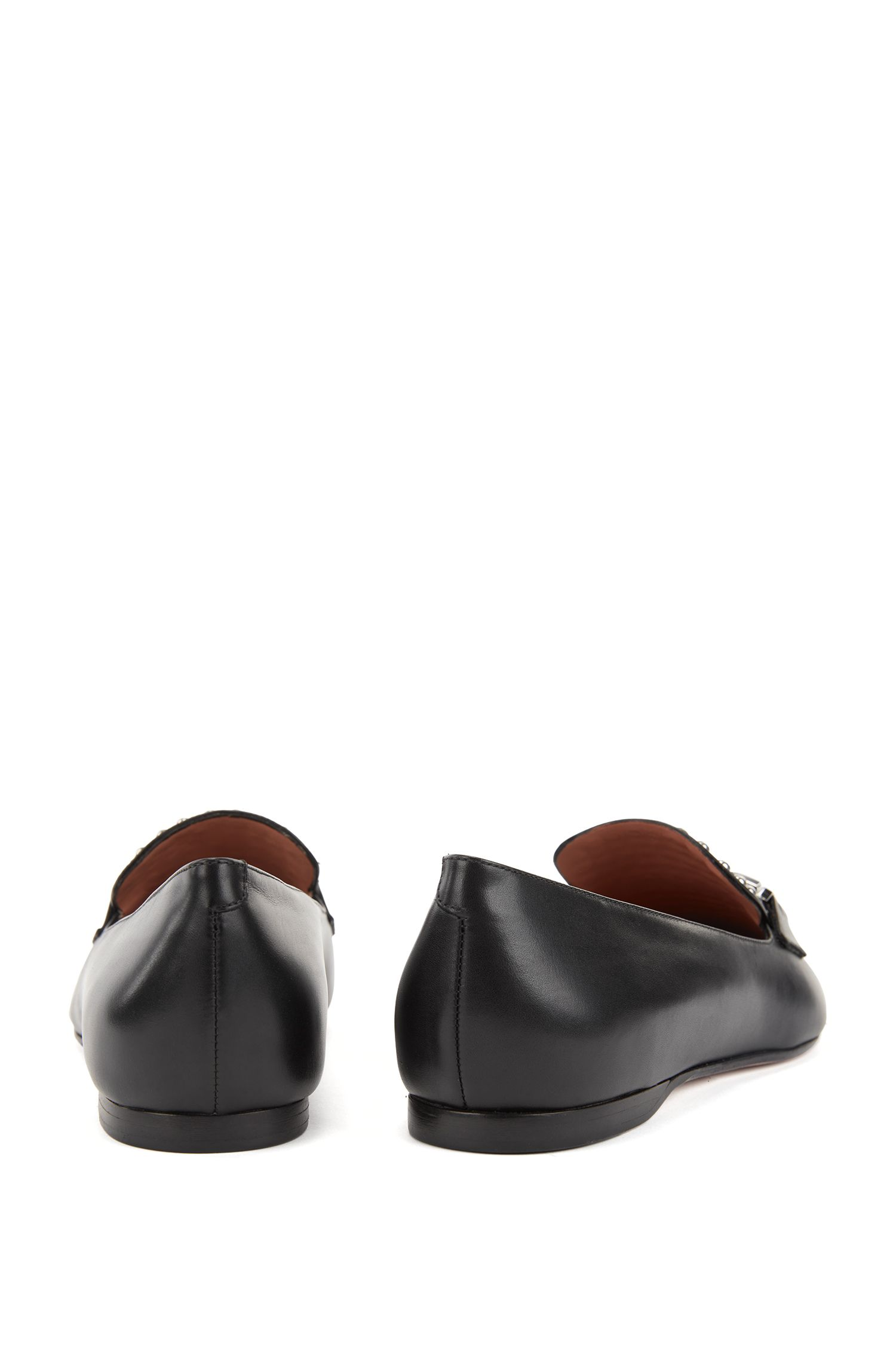 Italian calf-leather loafers with stud detailing BOSS