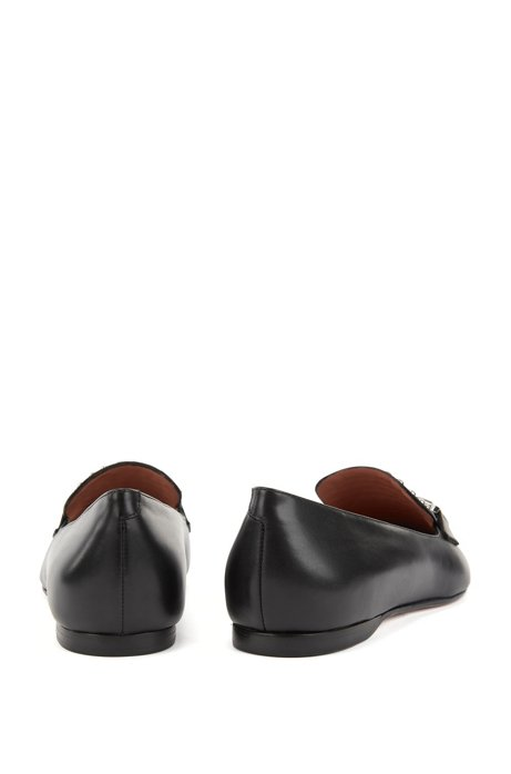 Italian calf-leather loafers with stud detailing BOSS FwaxAo5Ts