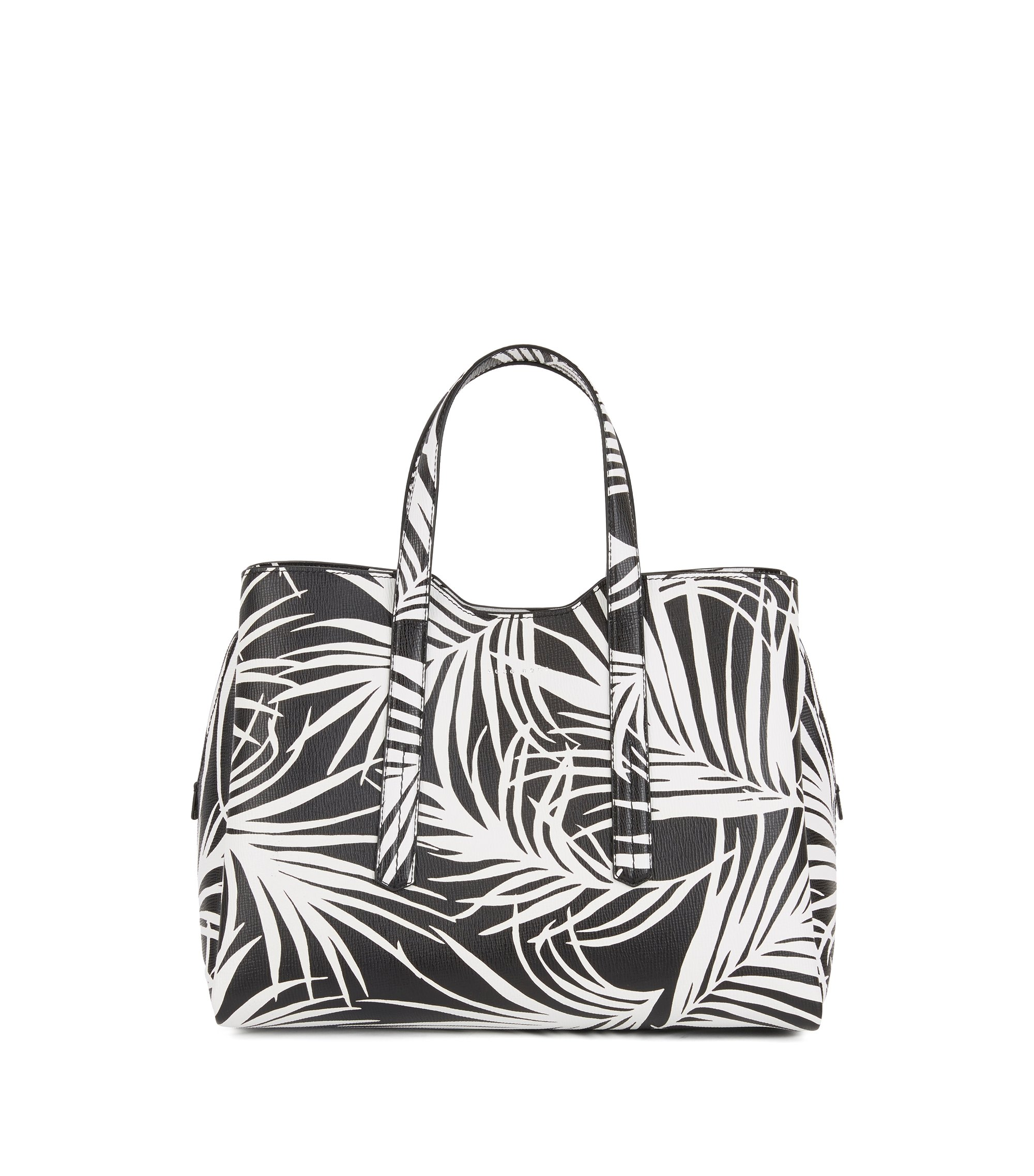 Tote bag in Italian calf leather with seasonal print, Black